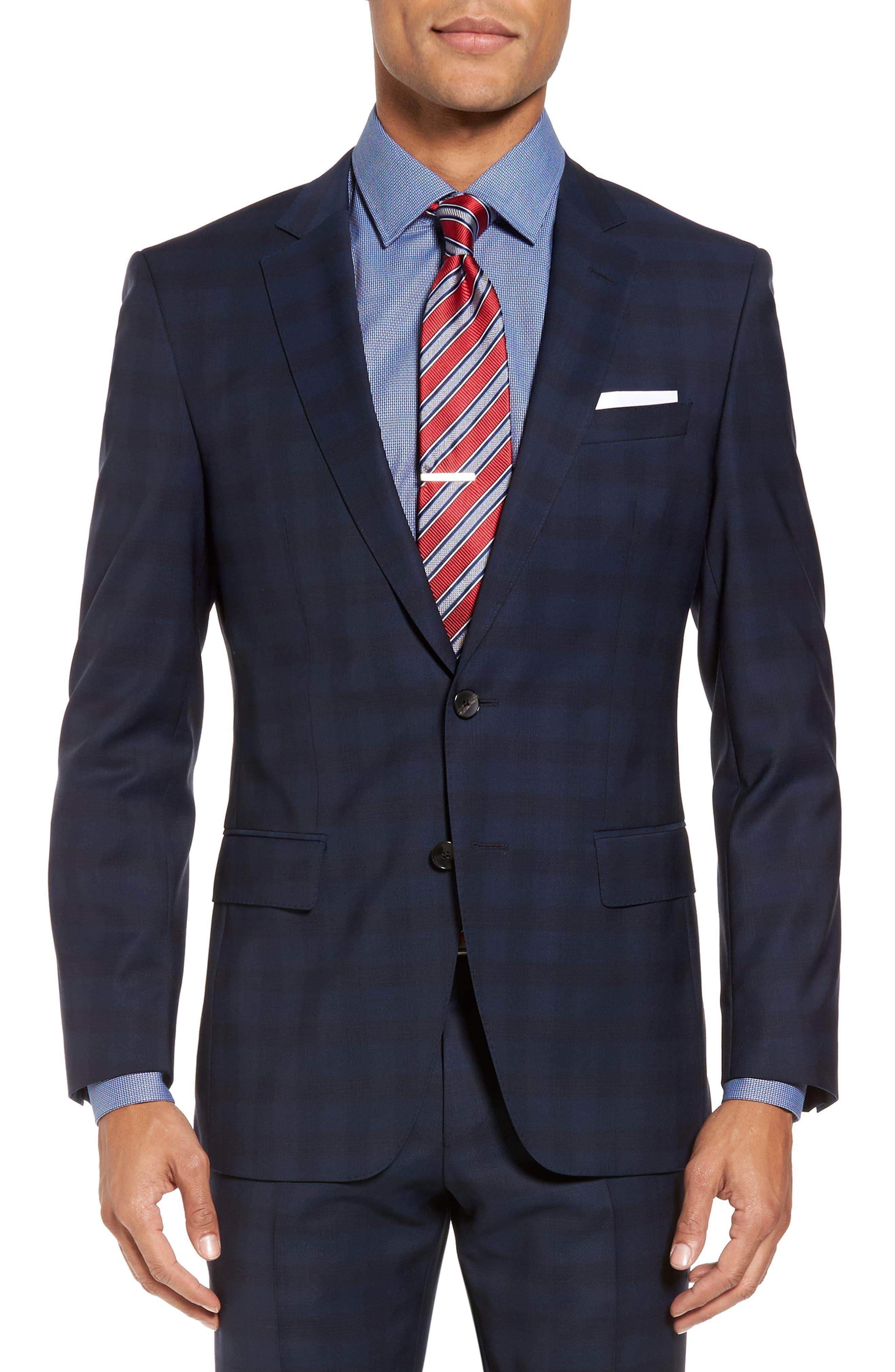 Huge/Genius Trim Fit Plaid Wool Suit,                             Alternate thumbnail 5, color,