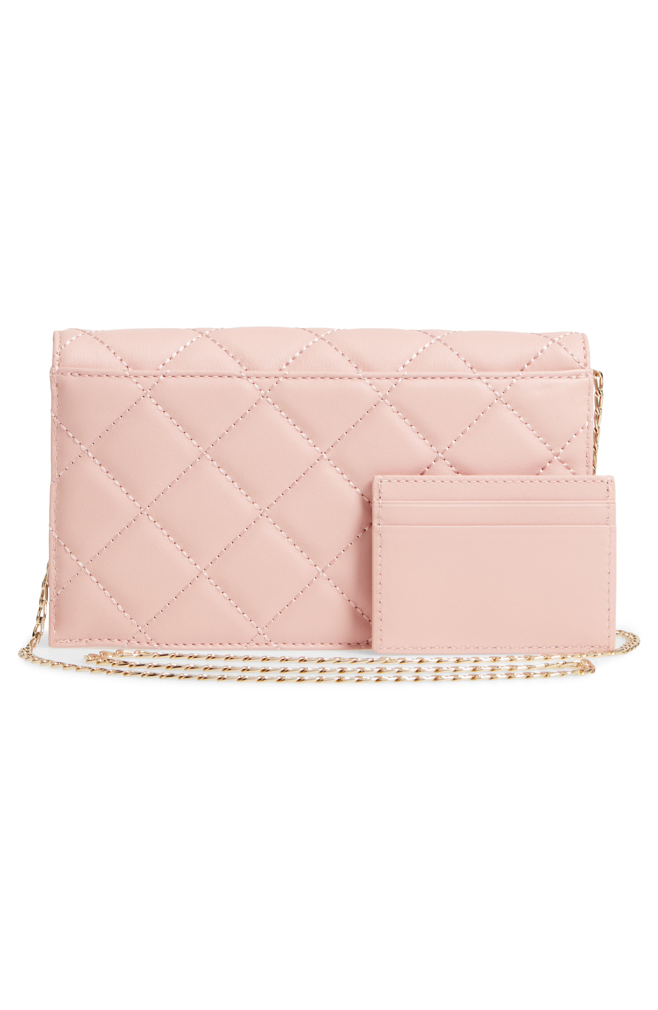 emerson place - brennan quilted leather convertible clutch & card holder,                             Alternate thumbnail 6, color,