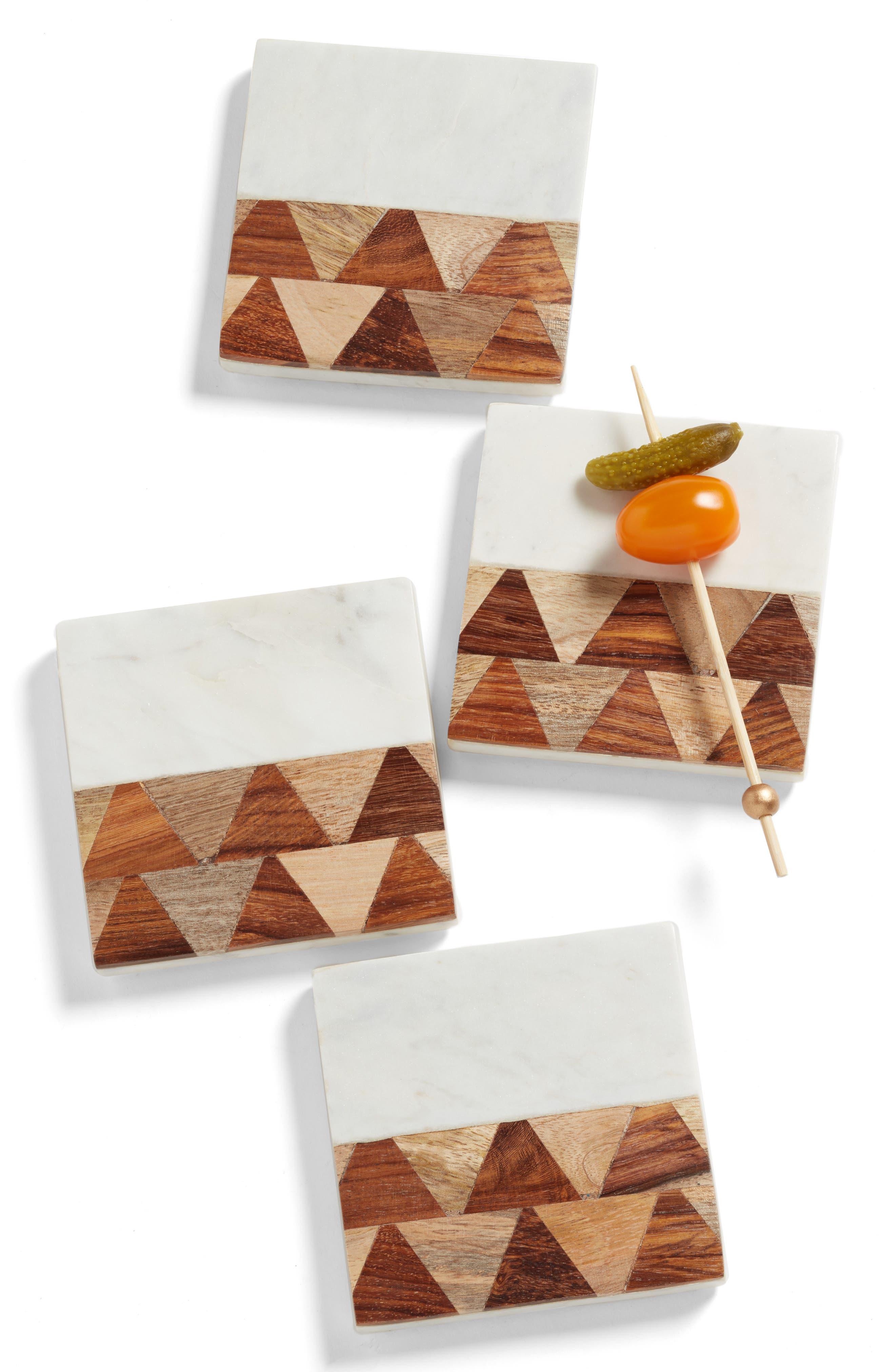 Chevron Set of 4 Marble & Wood Coasters,                             Main thumbnail 1, color,                             WHITE MULTI