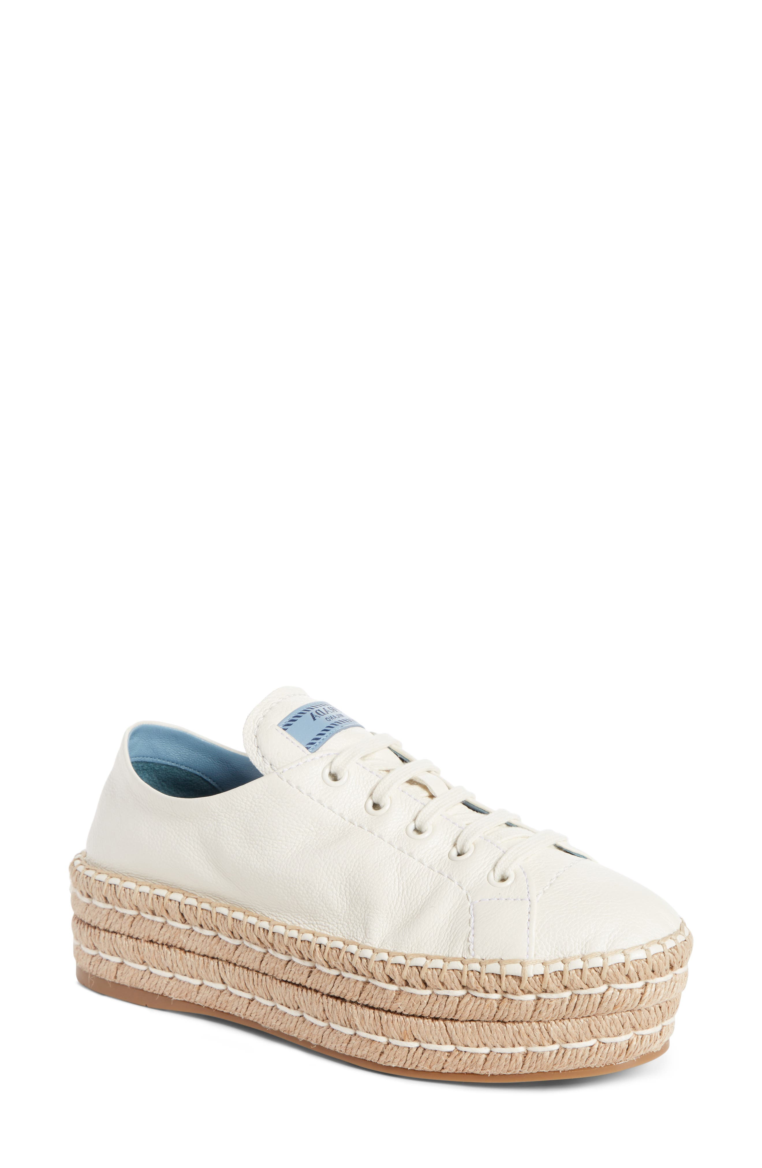 PRADA,                             Flatform Espadrille Sneaker,                             Main thumbnail 1, color,                             WHITE