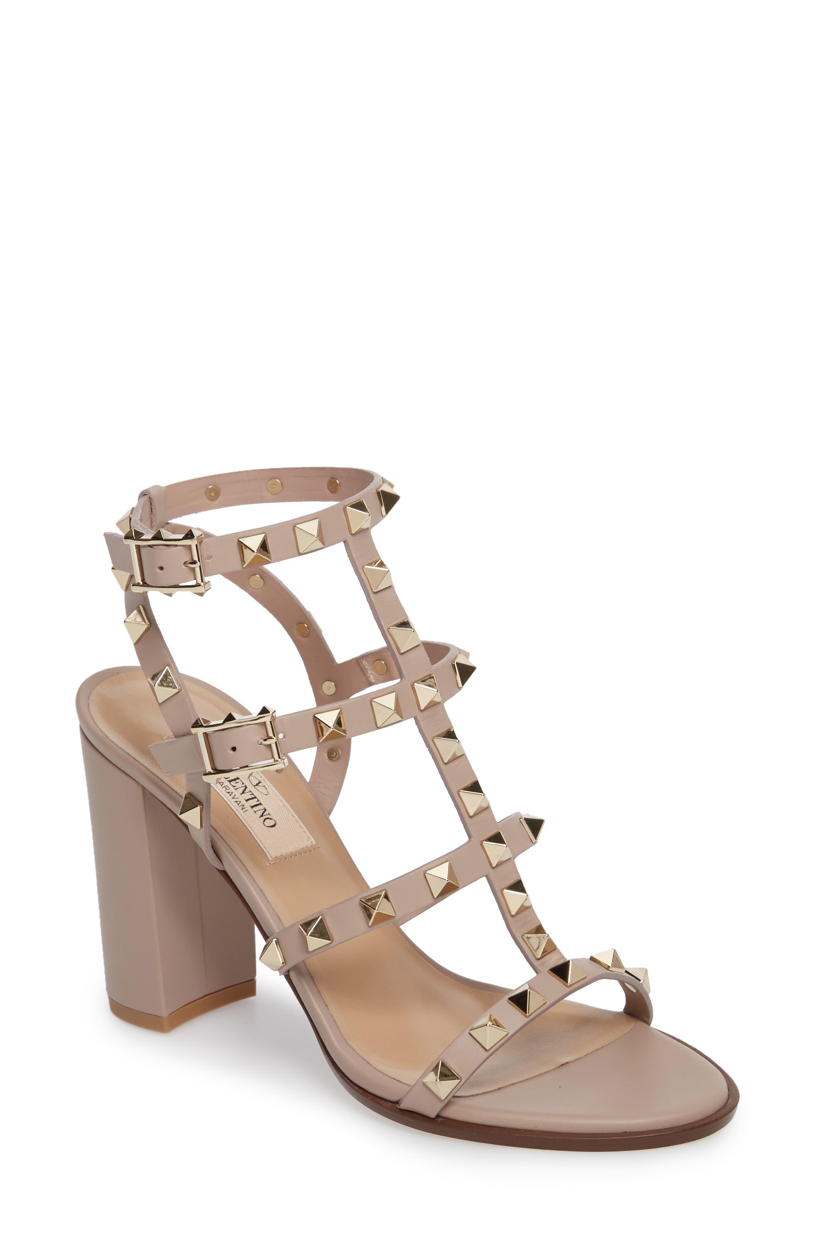 'Rockstud' T-Strap Sandal,                         Main,                         color, POUDRE