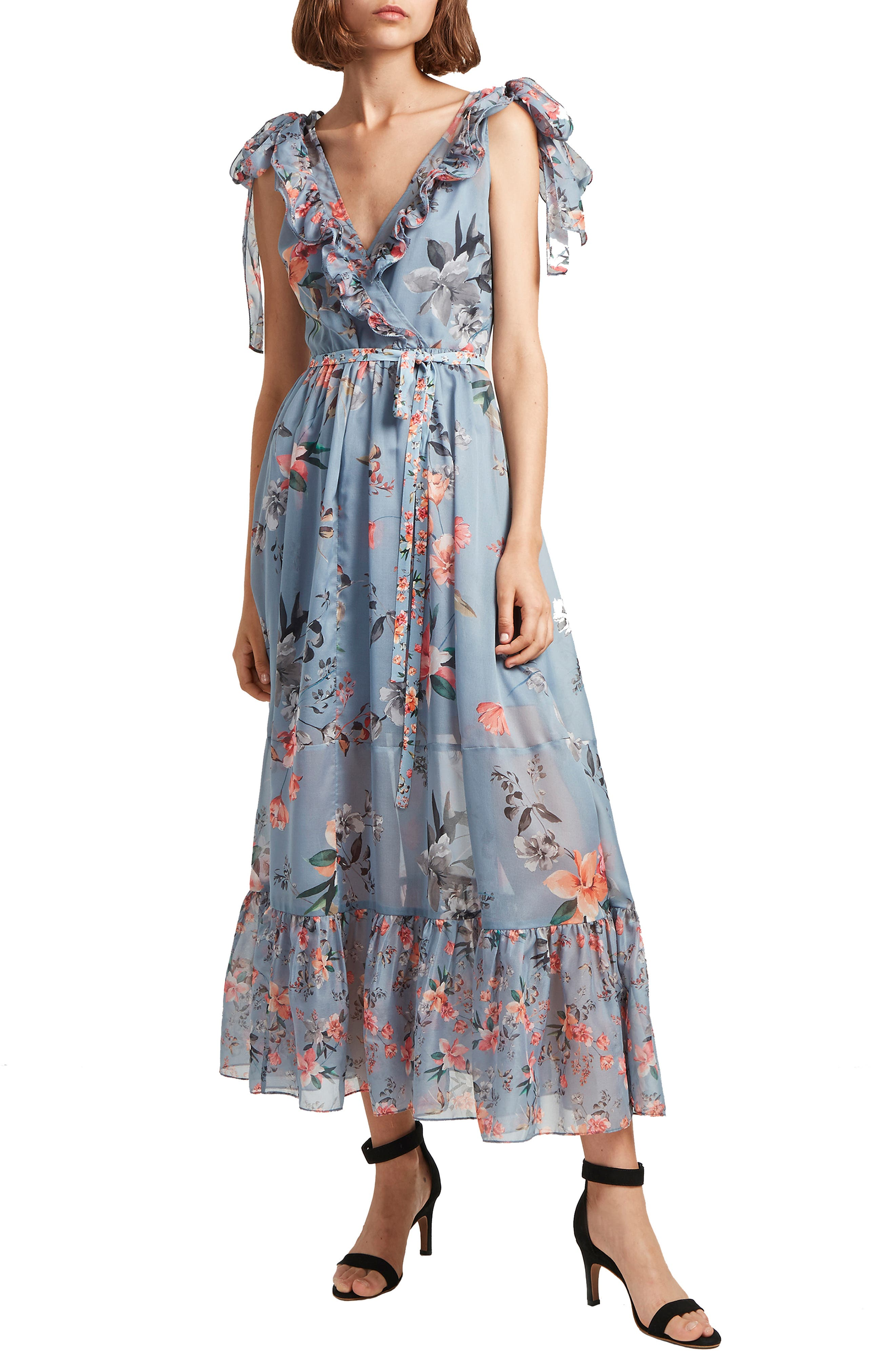 French Connection Cecile Floral Print Maxi Dress, Blue