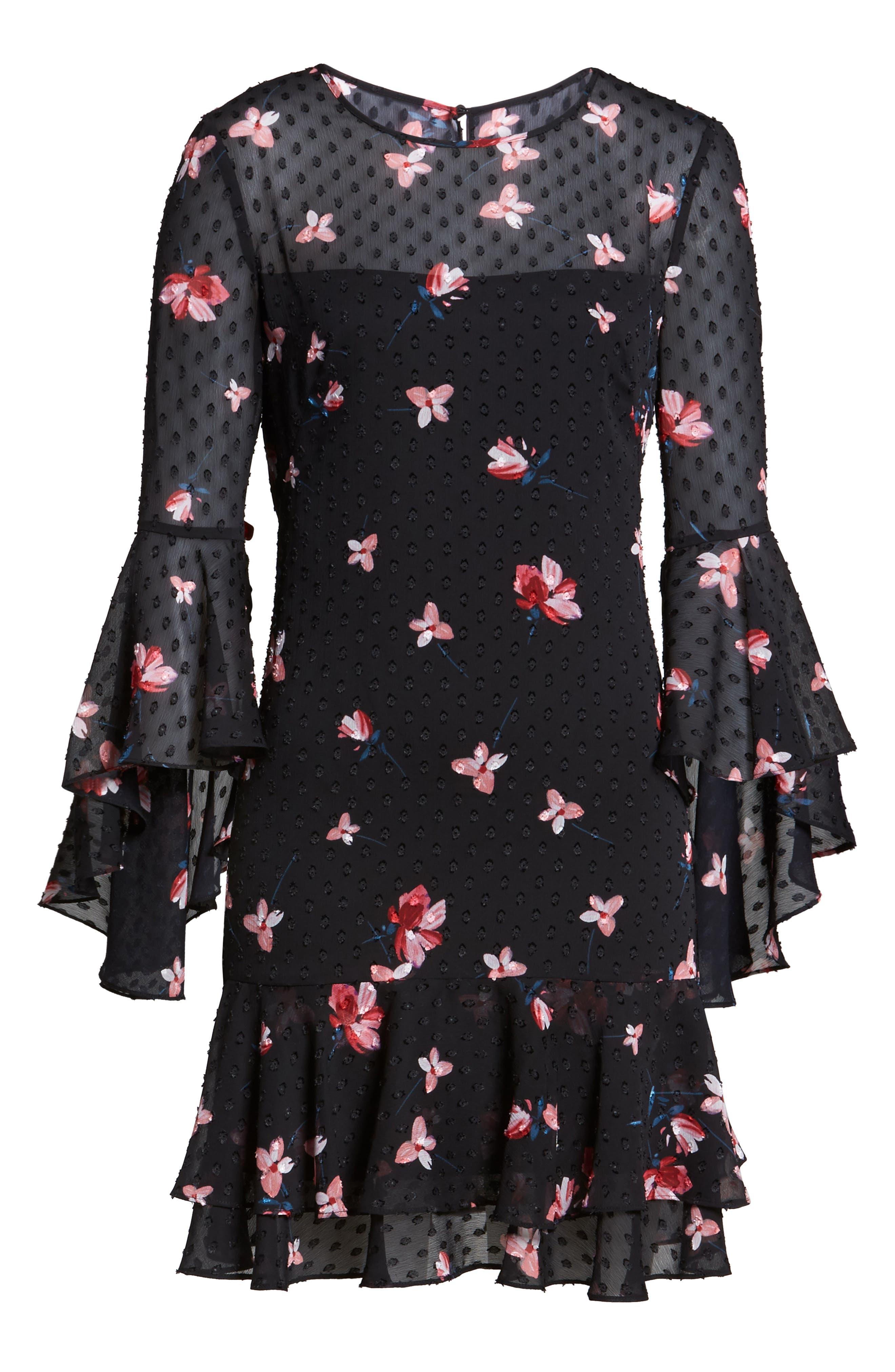 Ruffled Fit & Flare Dress,                             Alternate thumbnail 6, color,