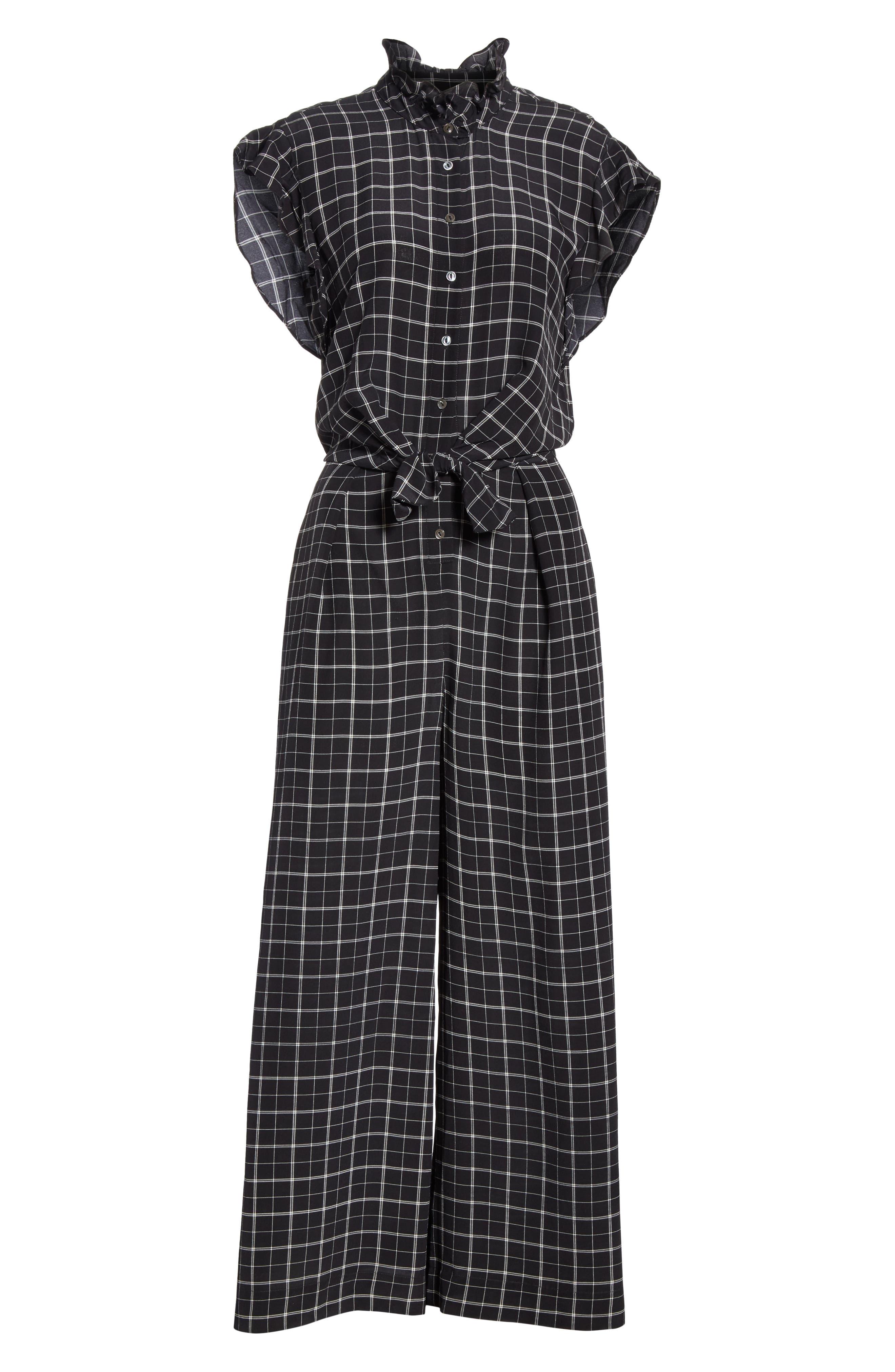 Plaid Silk Jumpsuit,                             Alternate thumbnail 6, color,                             BLACK