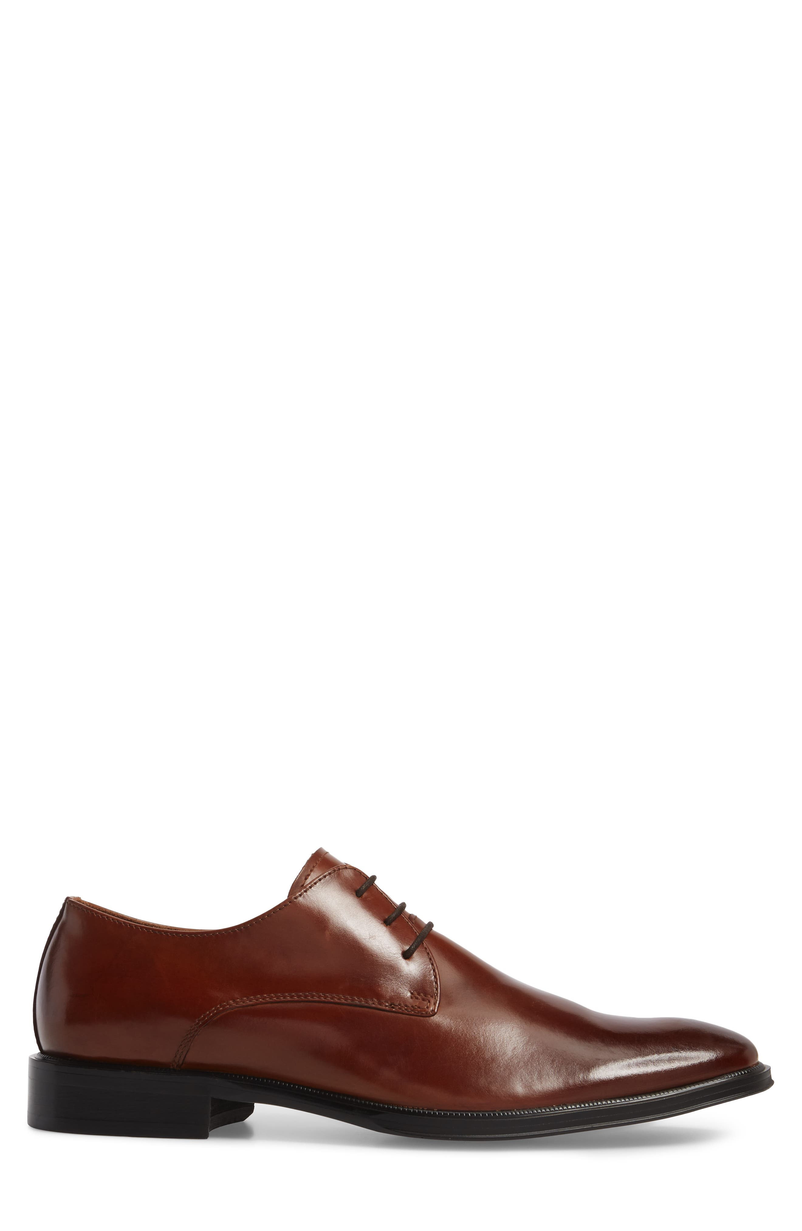 Kenneth Cole Tully Plain Toe Derby,                             Alternate thumbnail 3, color,                             COGNAC LEATHER