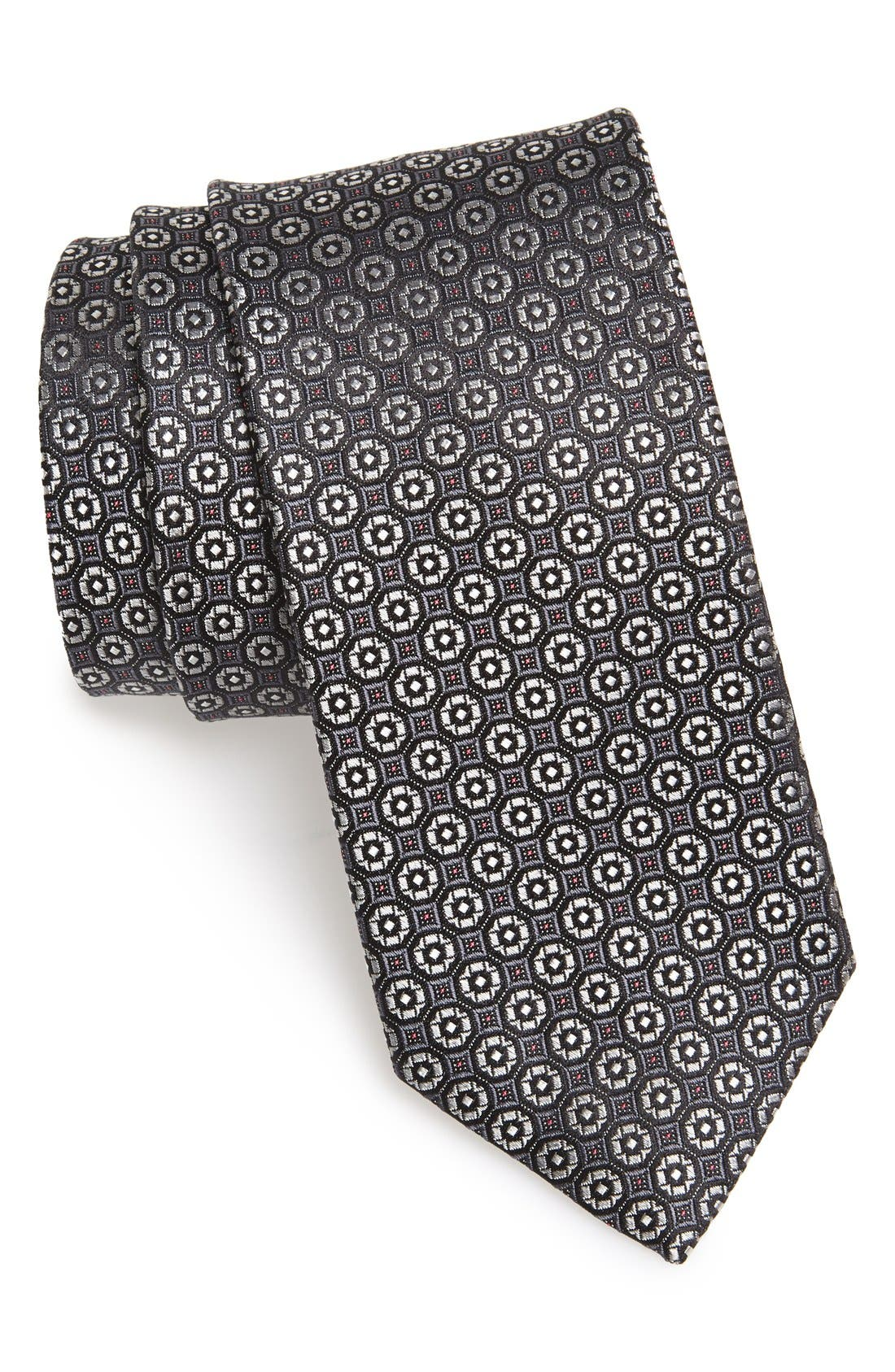 'Lange' Medallion Silk Tie,                             Main thumbnail 1, color,                             001