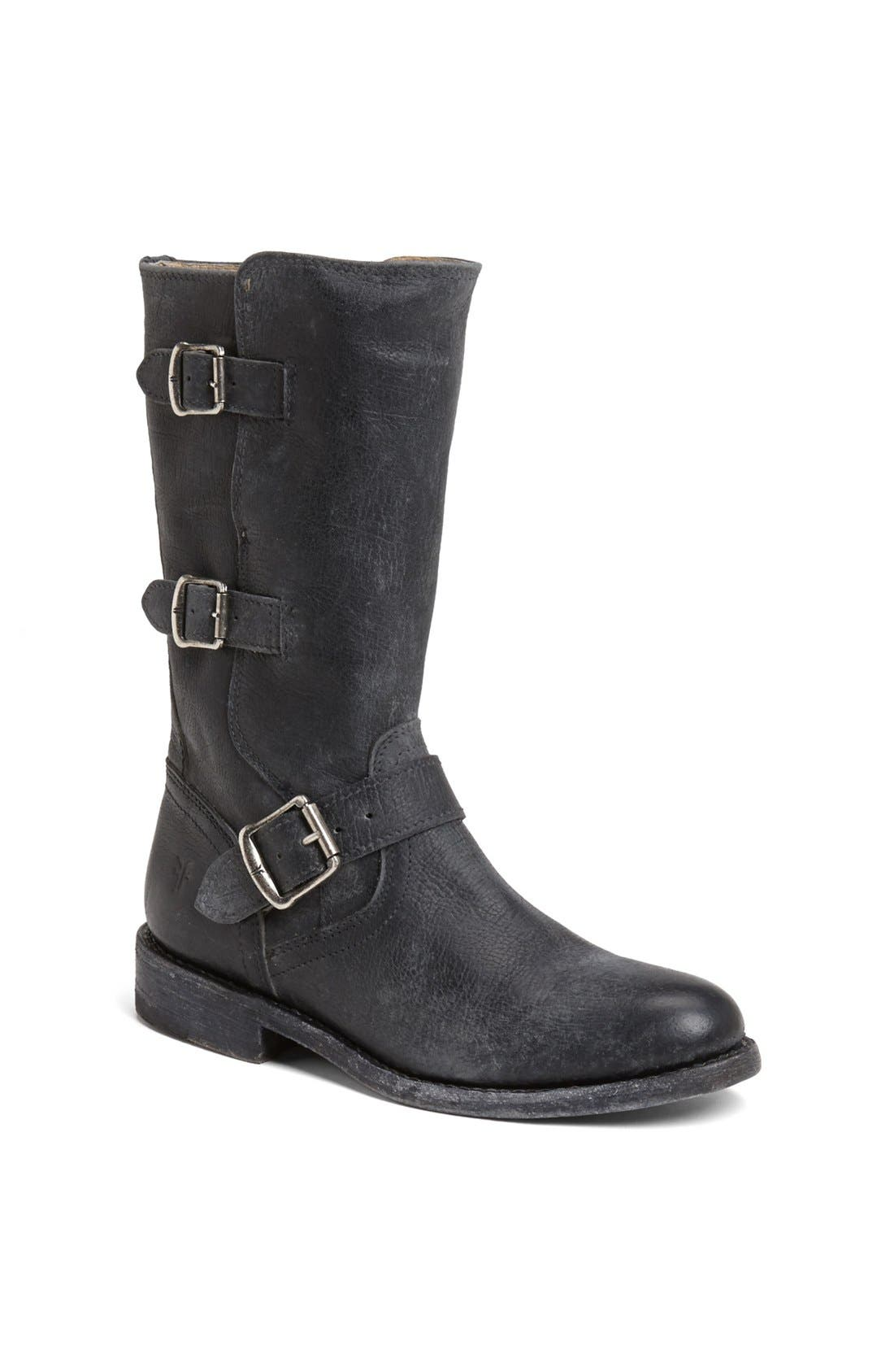 'Jayden' Leather Moto Boot, Main, color, 001