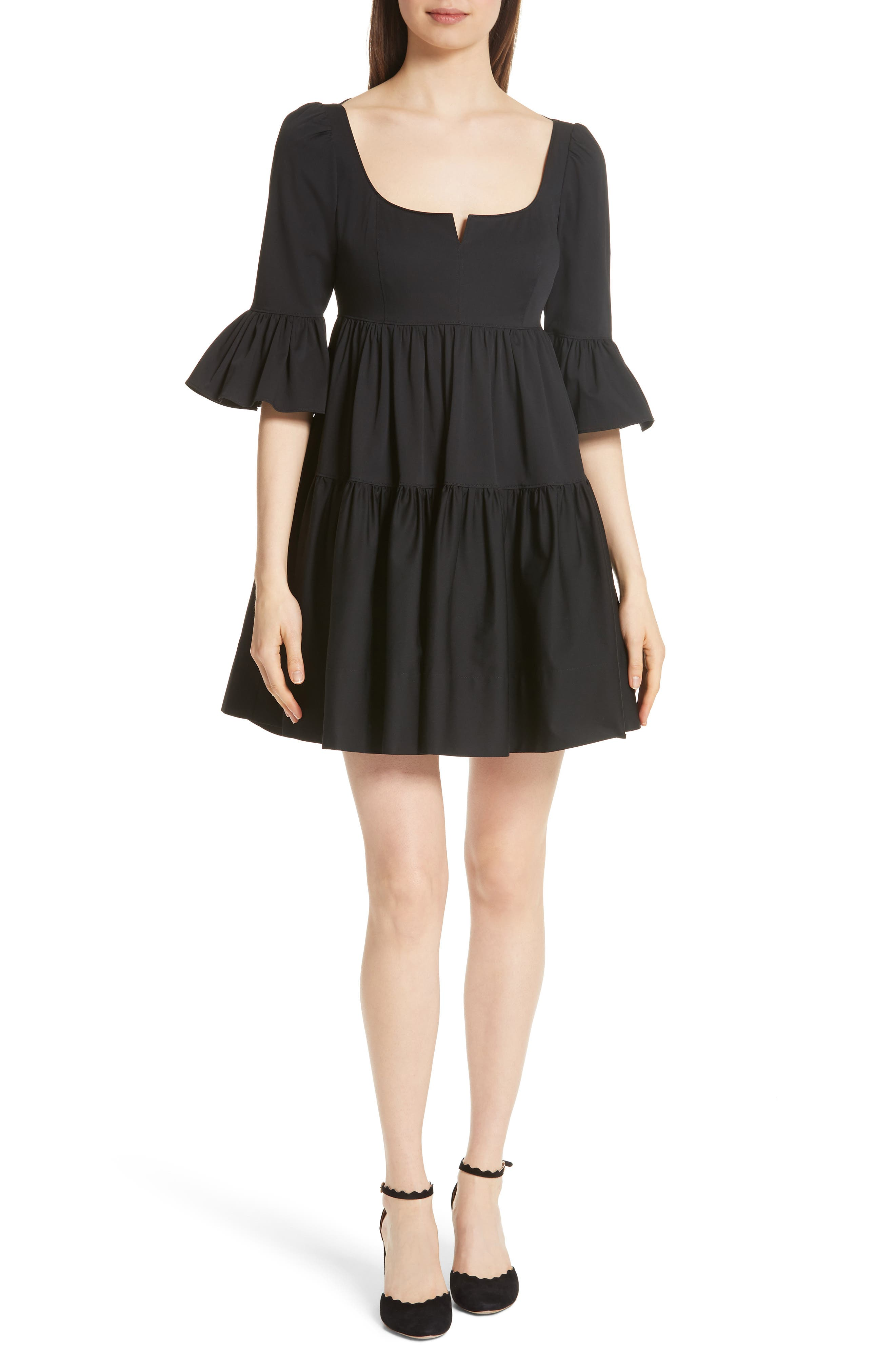 Anya Stretch Poplin Dress,                             Main thumbnail 1, color,                             001
