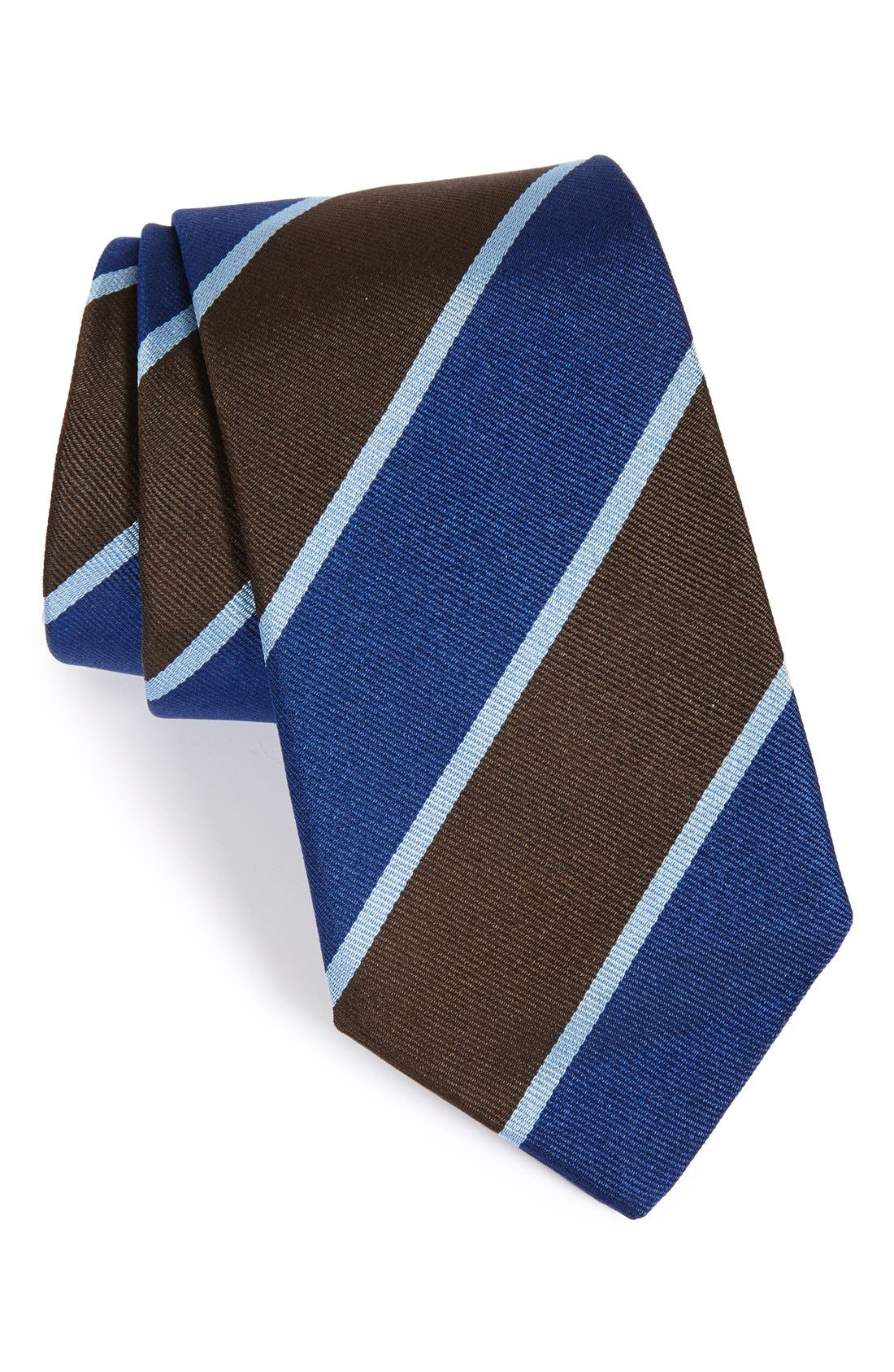 Stripe Silk Tie,                         Main,                         color, BROWN