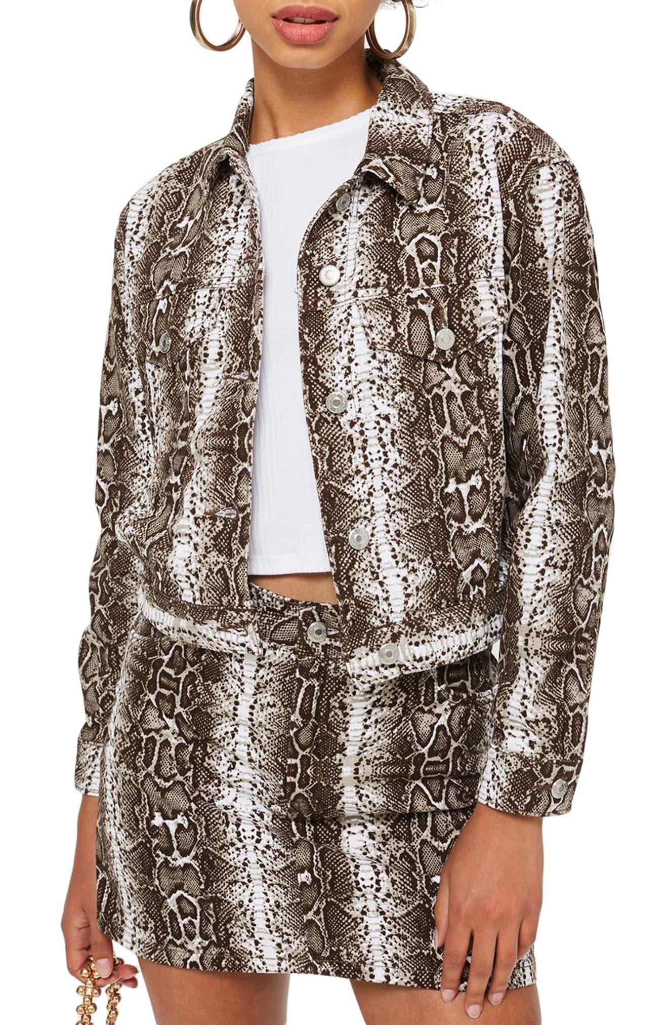 Snakeskin Print Denim Jacket, Main, color, 100