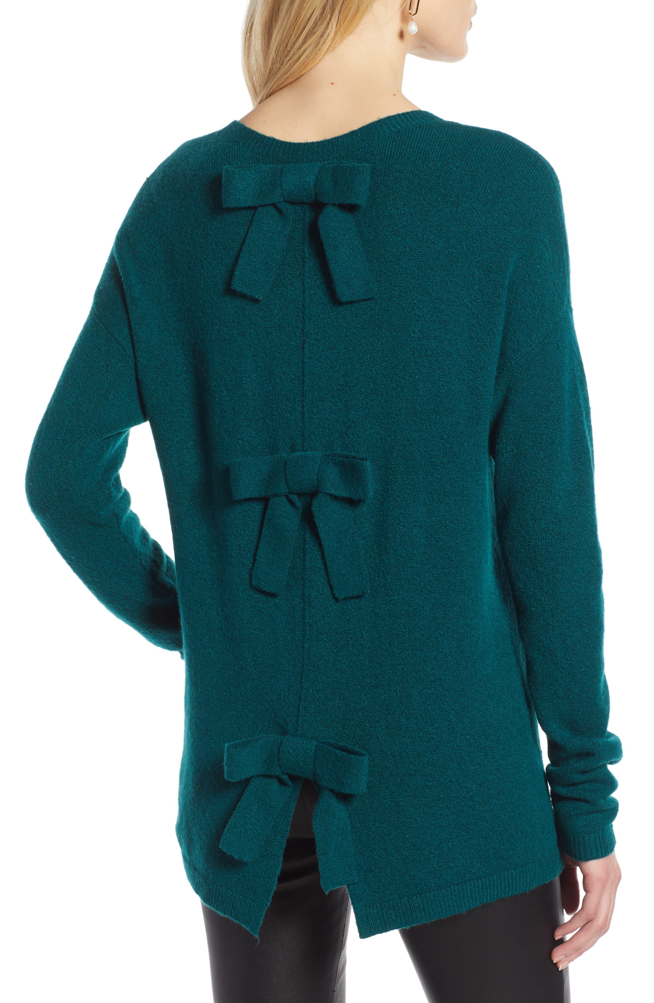 Bow Back Sweater,                             Alternate thumbnail 2, color,                             GREEN BOTANICAL