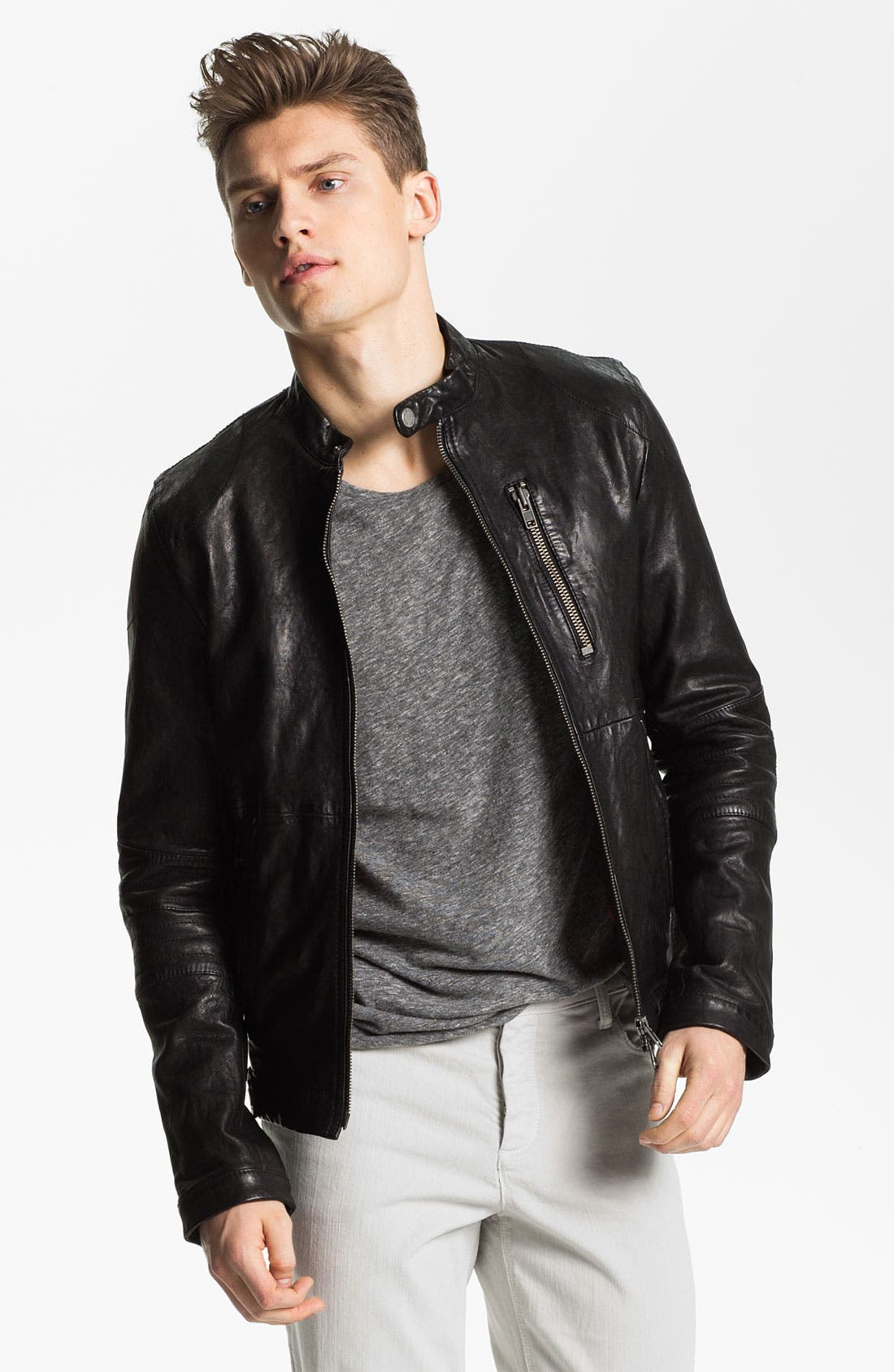 Leather Jacket,                             Main thumbnail 1, color,                             001