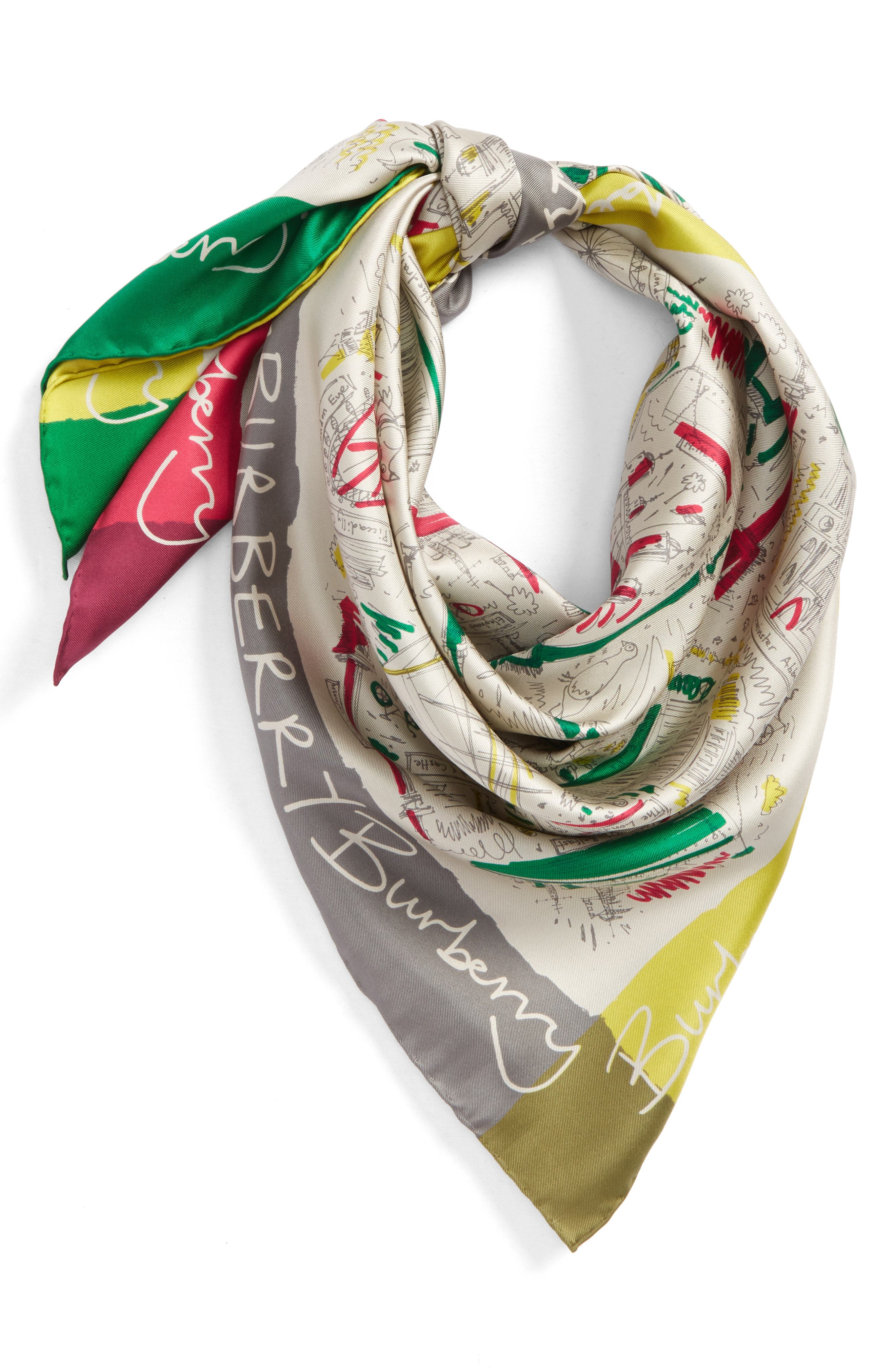 London Icon Silk Square Scarf,                             Alternate thumbnail 2, color,                             650