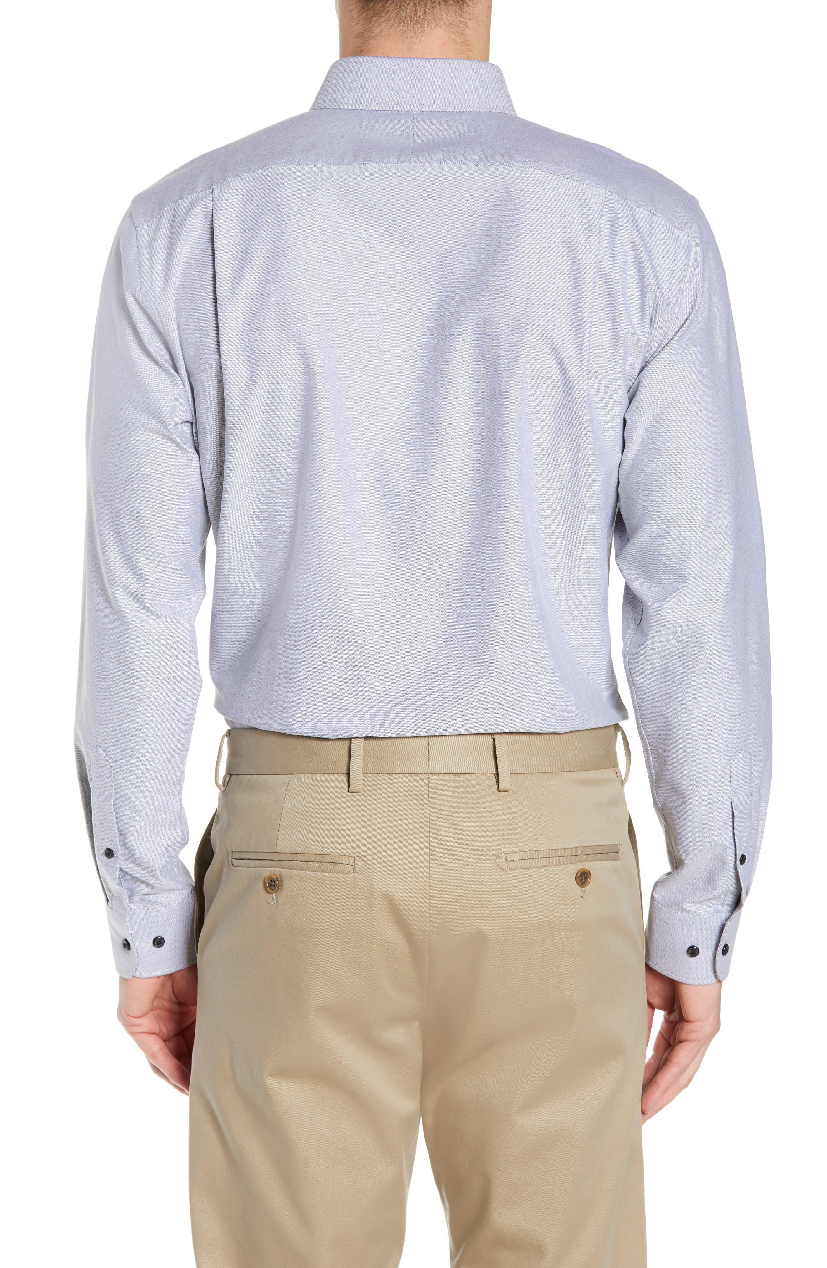 Trim Fit Oxford Dress Shirt,                             Alternate thumbnail 3, color,                             GREY FEATHER