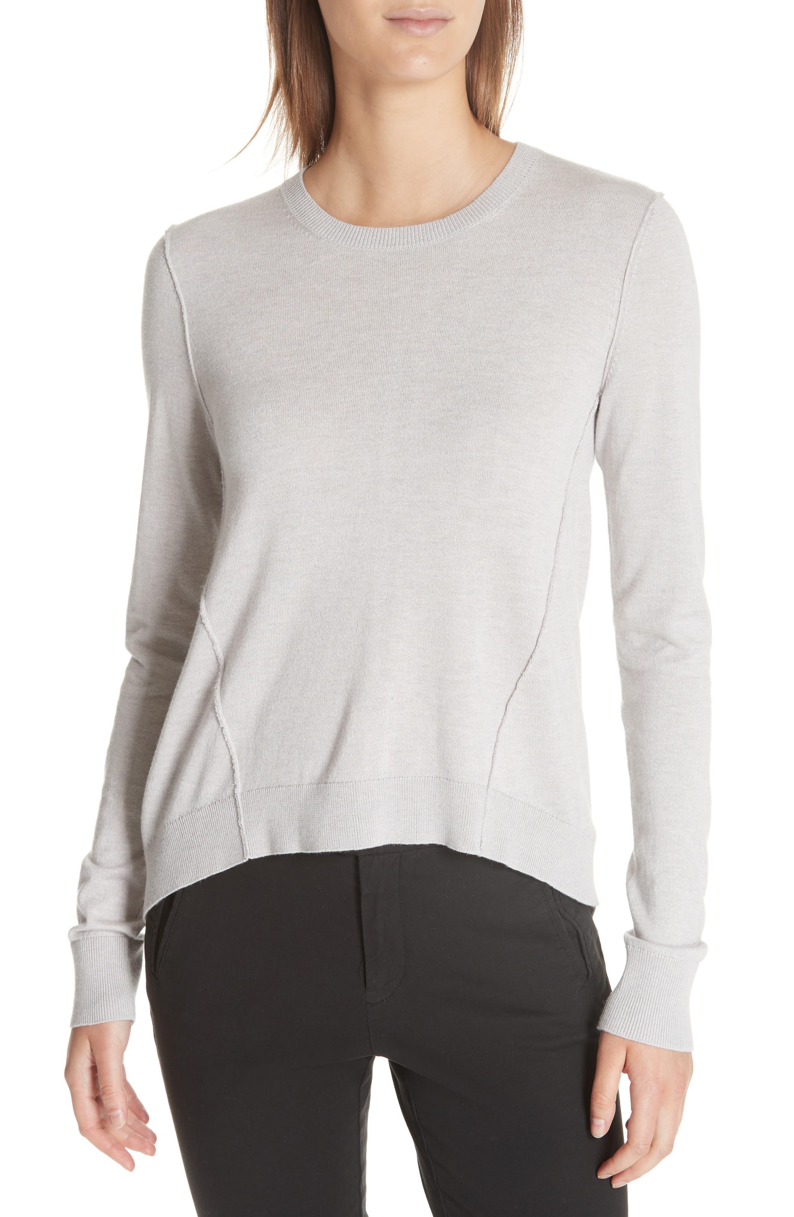 Atm Anthony Thomas Melillo Forward Seam Silk, Wool & Cashmere Sweater, Grey
