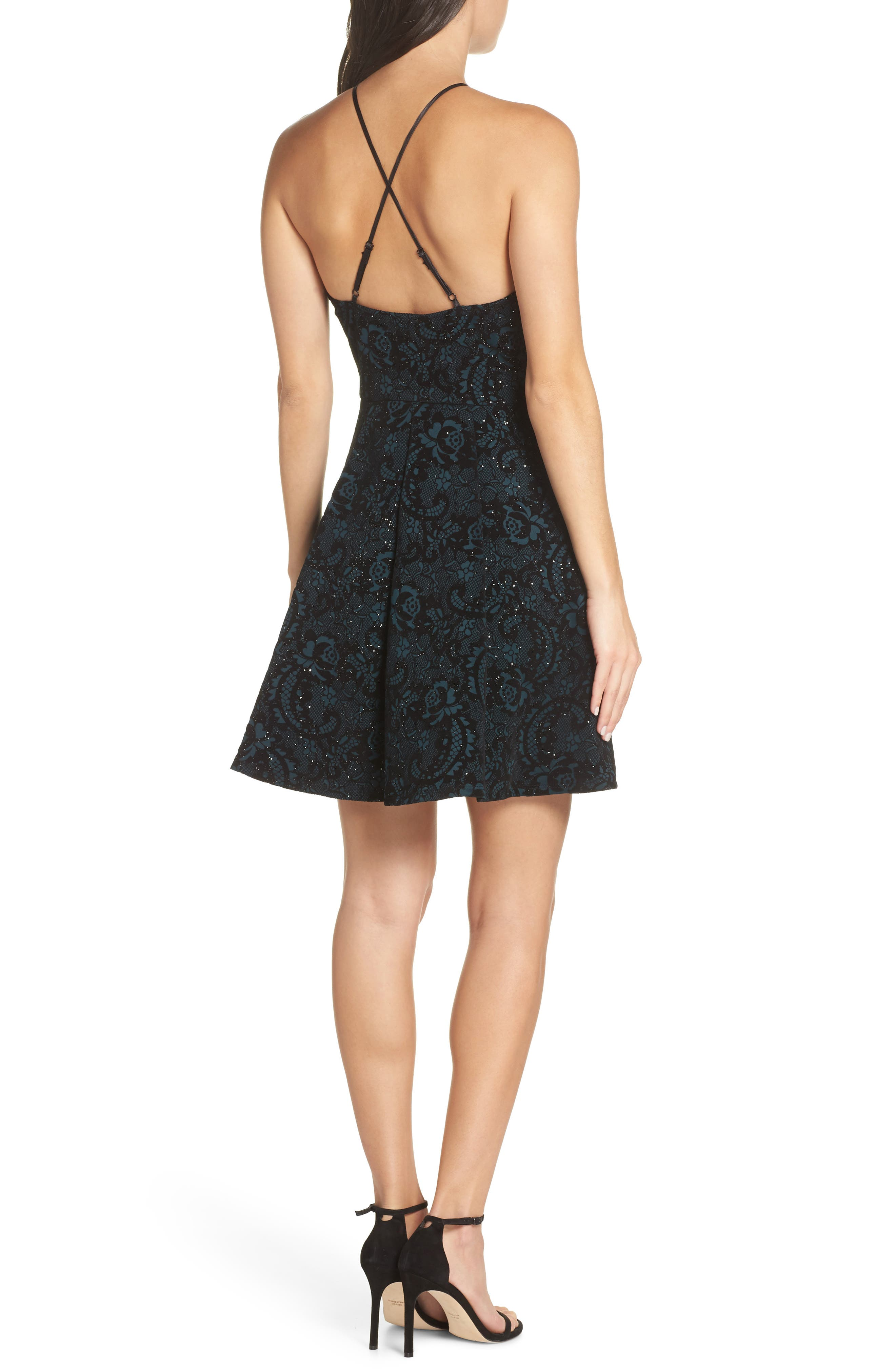 Flocked Fit & Flare Party Dress,                             Alternate thumbnail 2, color,                             BLACK/ TEAL