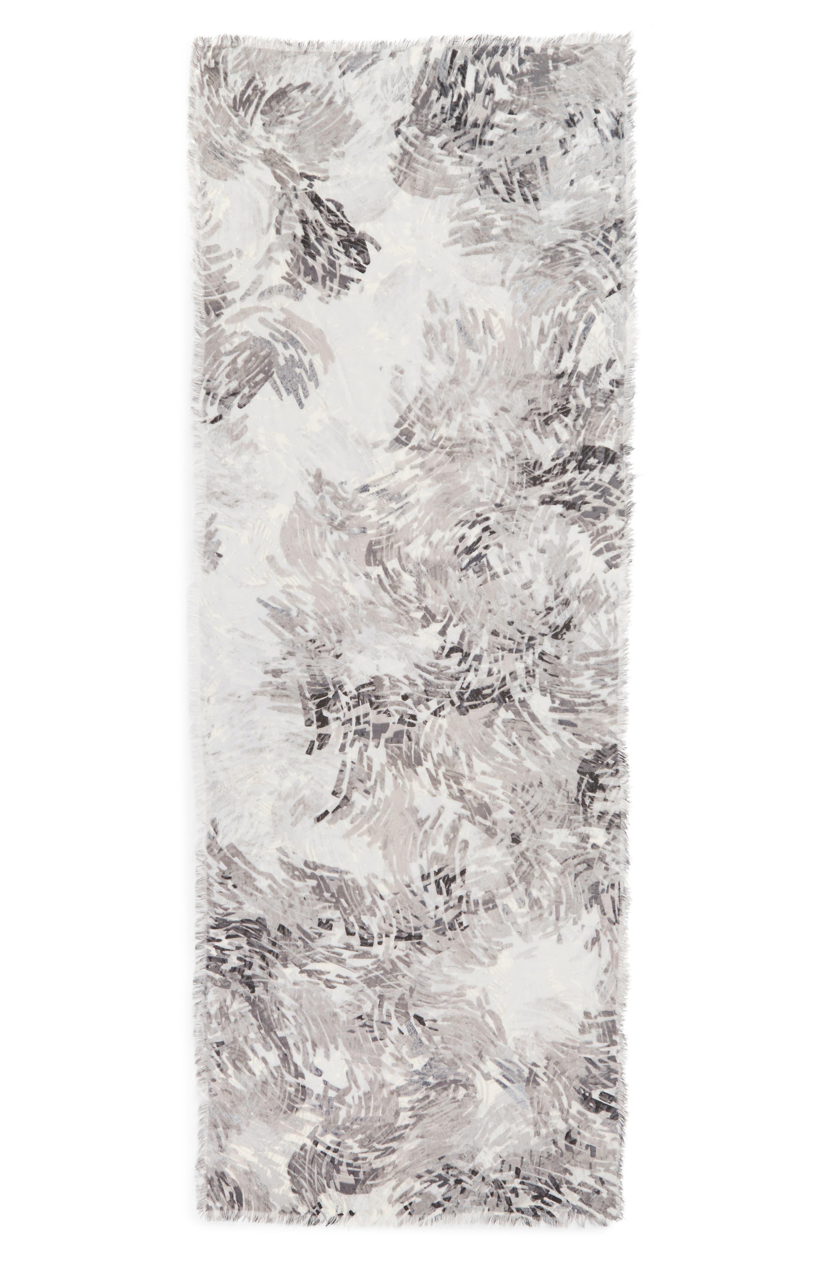 Eyelash Trim Print Cashmere & Silk Wrap,                             Alternate thumbnail 73, color,