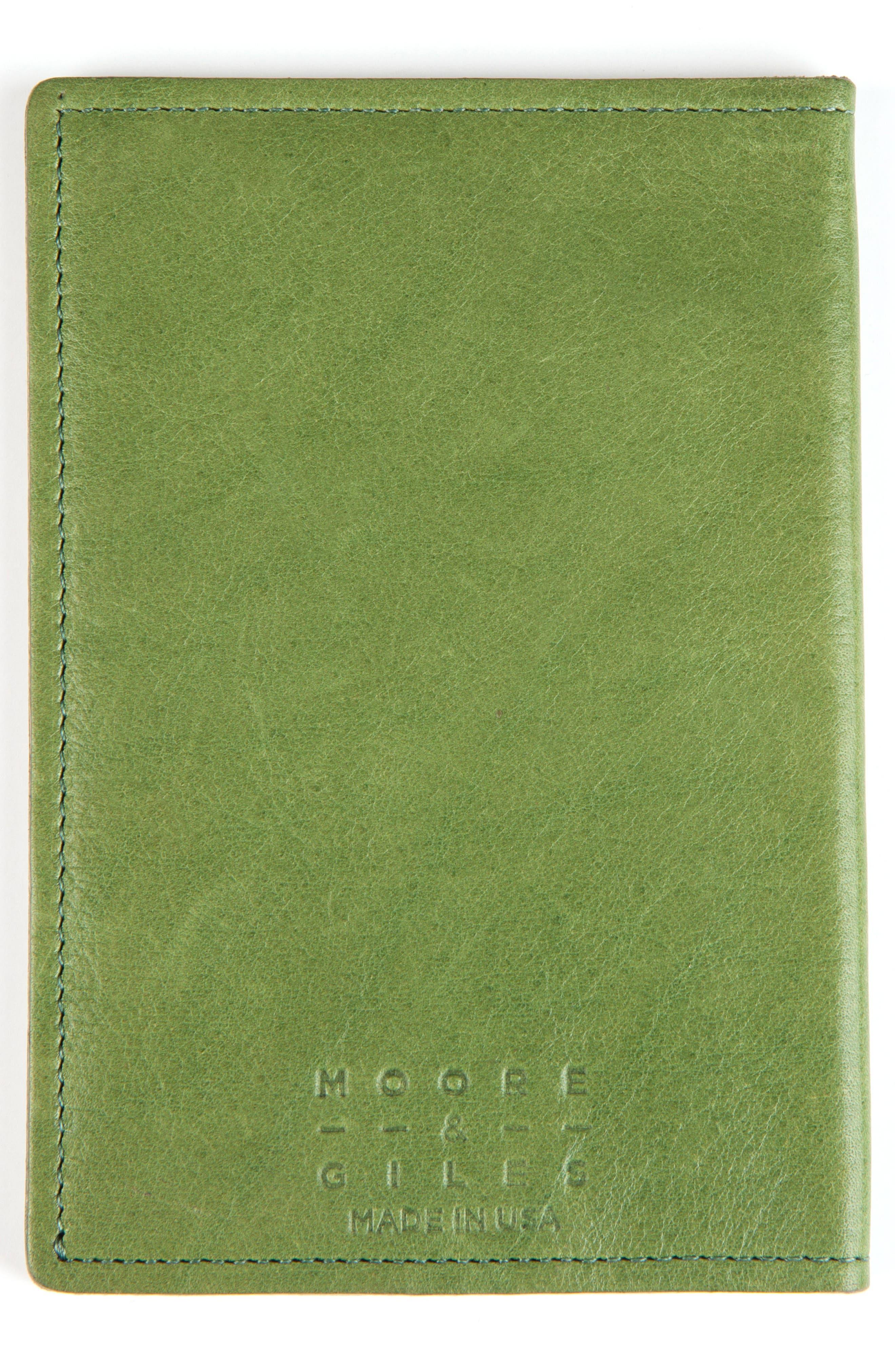 Leather Passport Case,                             Alternate thumbnail 3, color,                             SOUR APPLE