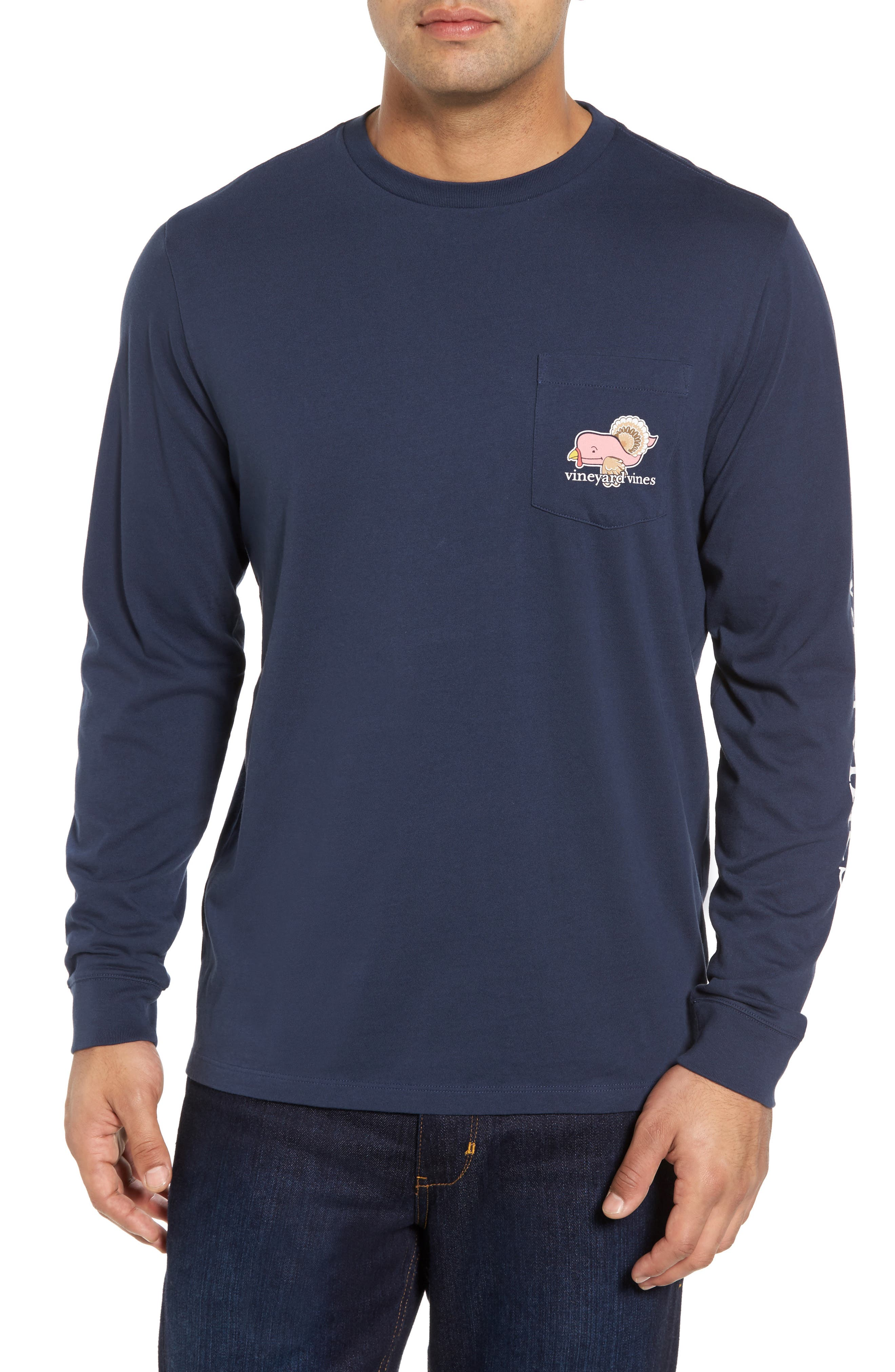 Turkey Whale Graphic Long Sleeve Pocket T-Shirt,                         Main,                         color, 406