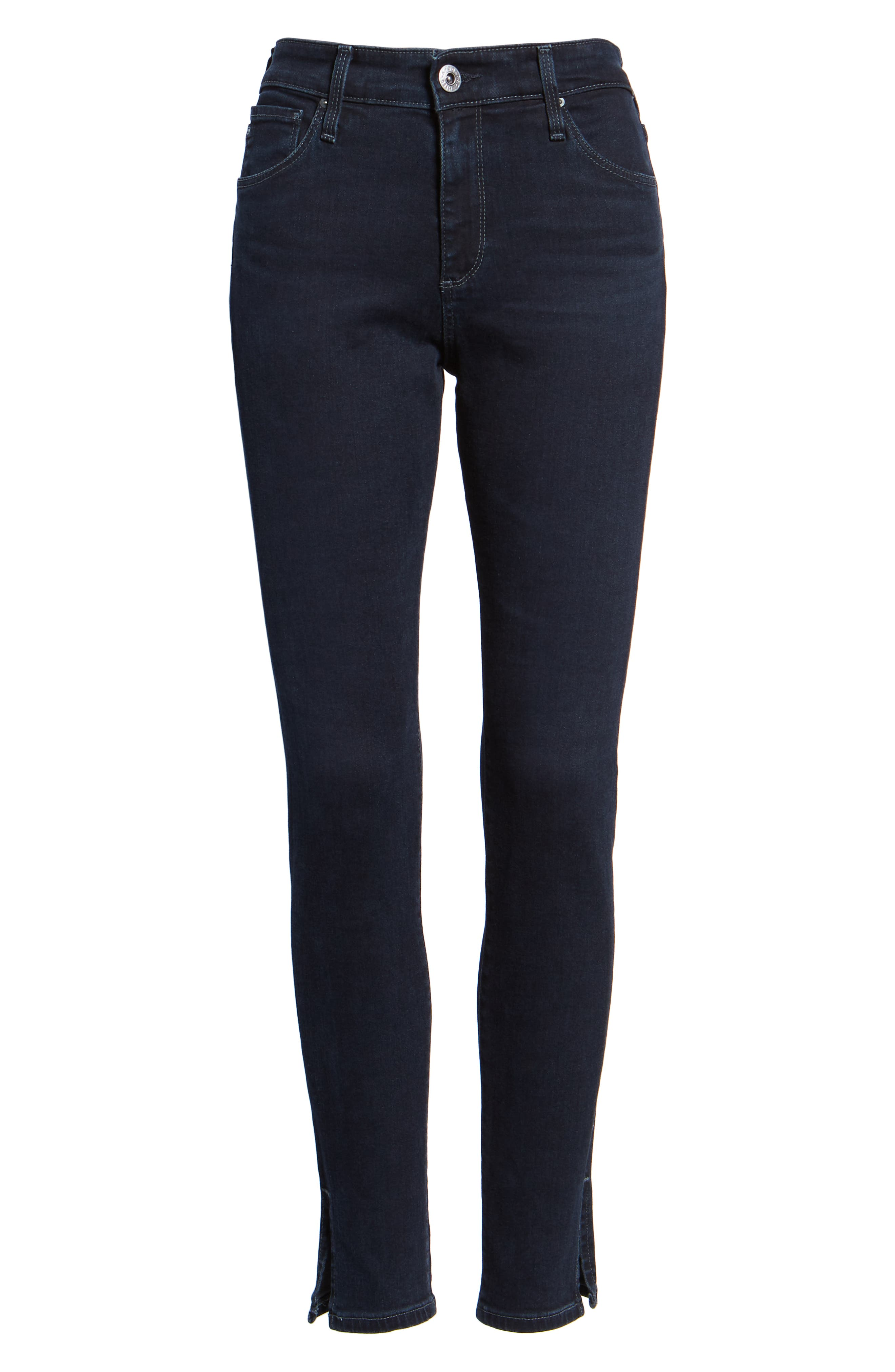 Farrah High Waist Split Hem Skinny Jeans,                             Alternate thumbnail 7, color,                             YARD BIRD