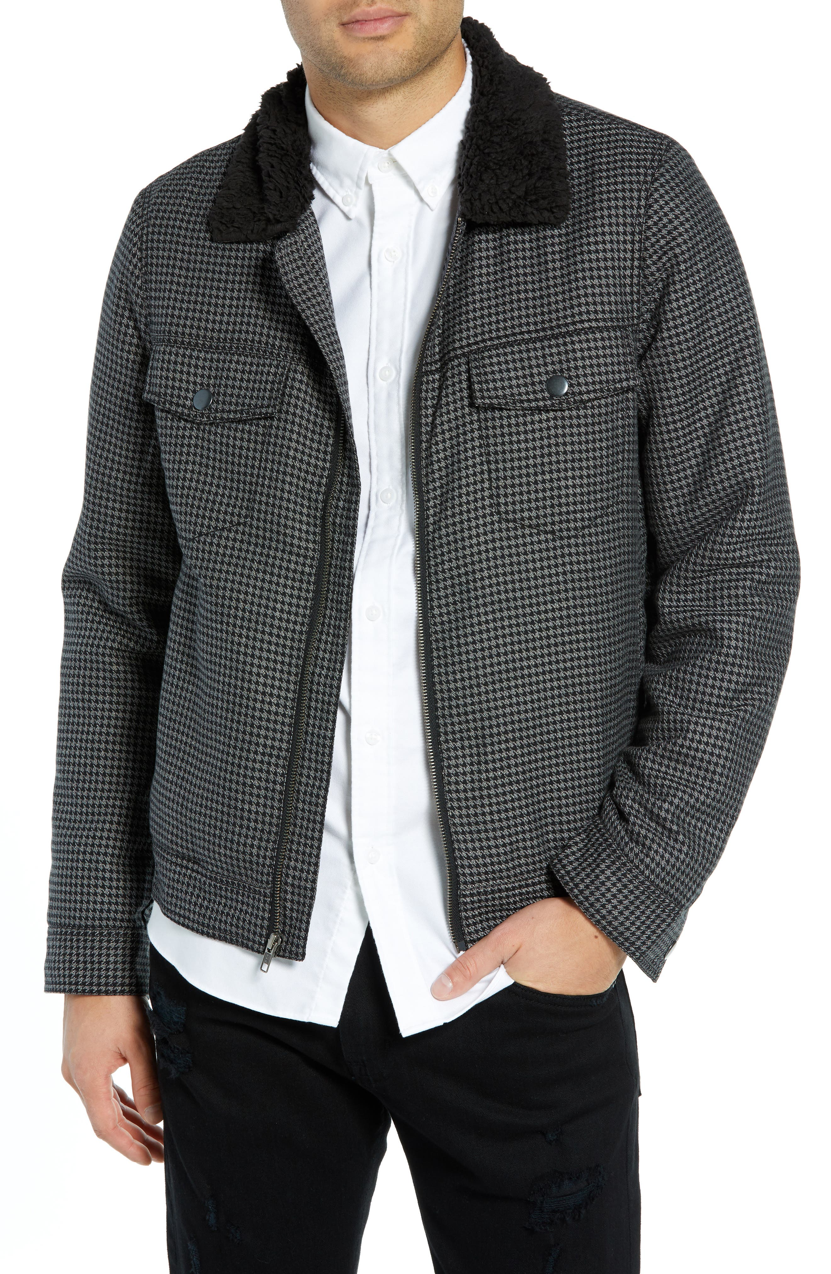 THE RAIL Lined Houndstooth Trucker Jacket, Main, color, 001