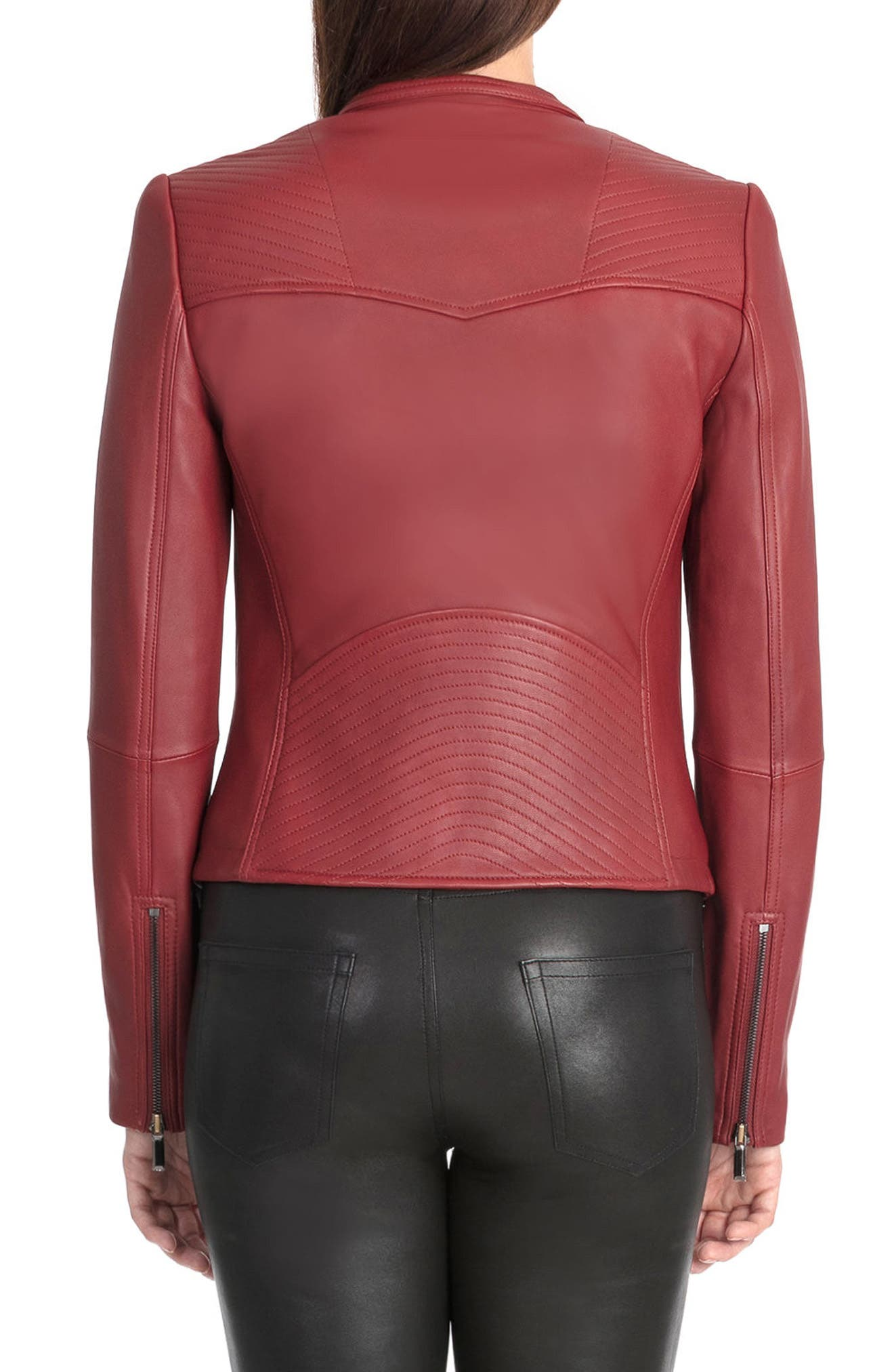 Bagatelle Quilted Lambskin Leather Moto Jacket,                             Alternate thumbnail 6, color,