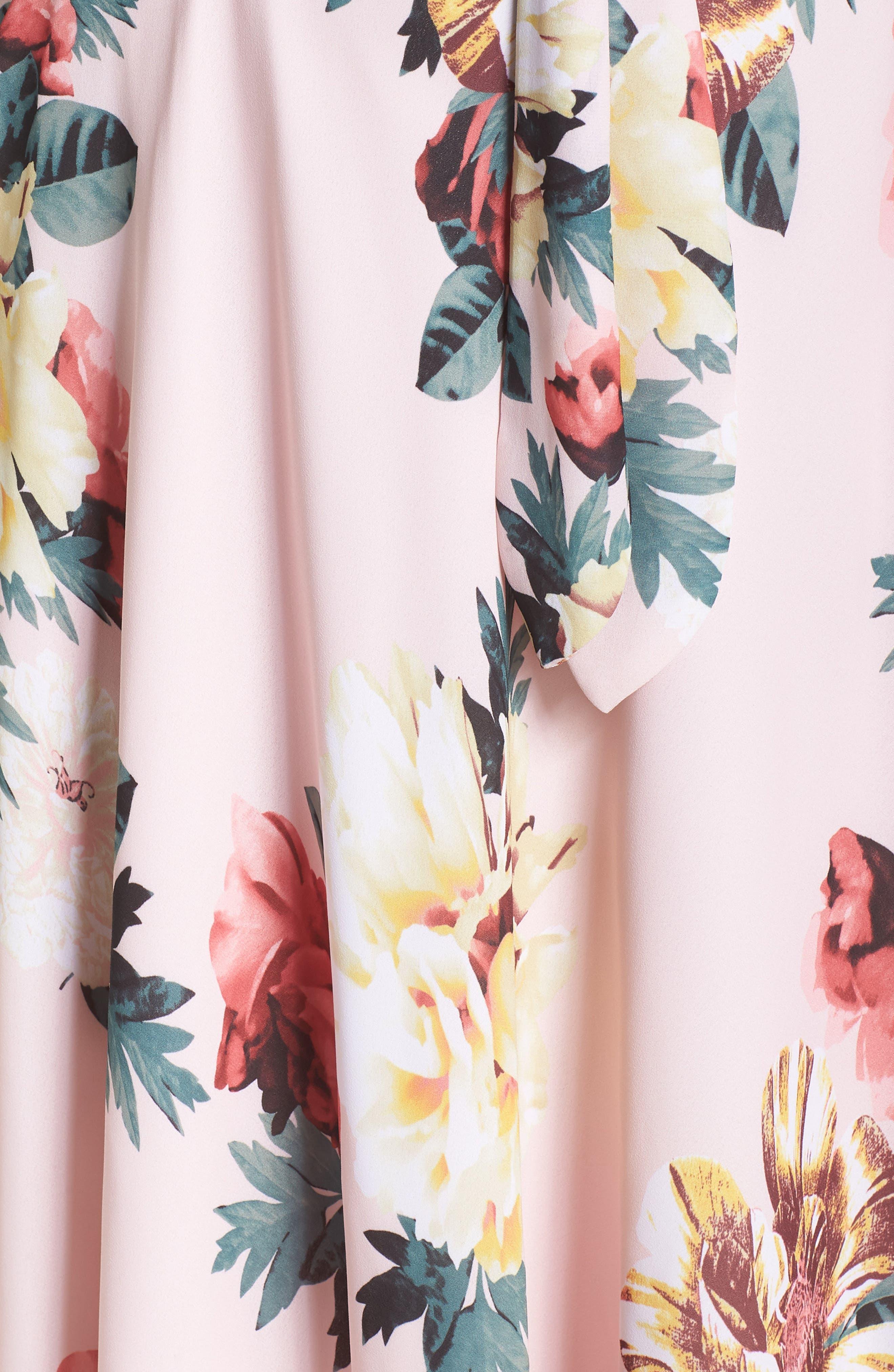Floral Print Tie Waist Fit & Flare Dress,                             Alternate thumbnail 6, color,