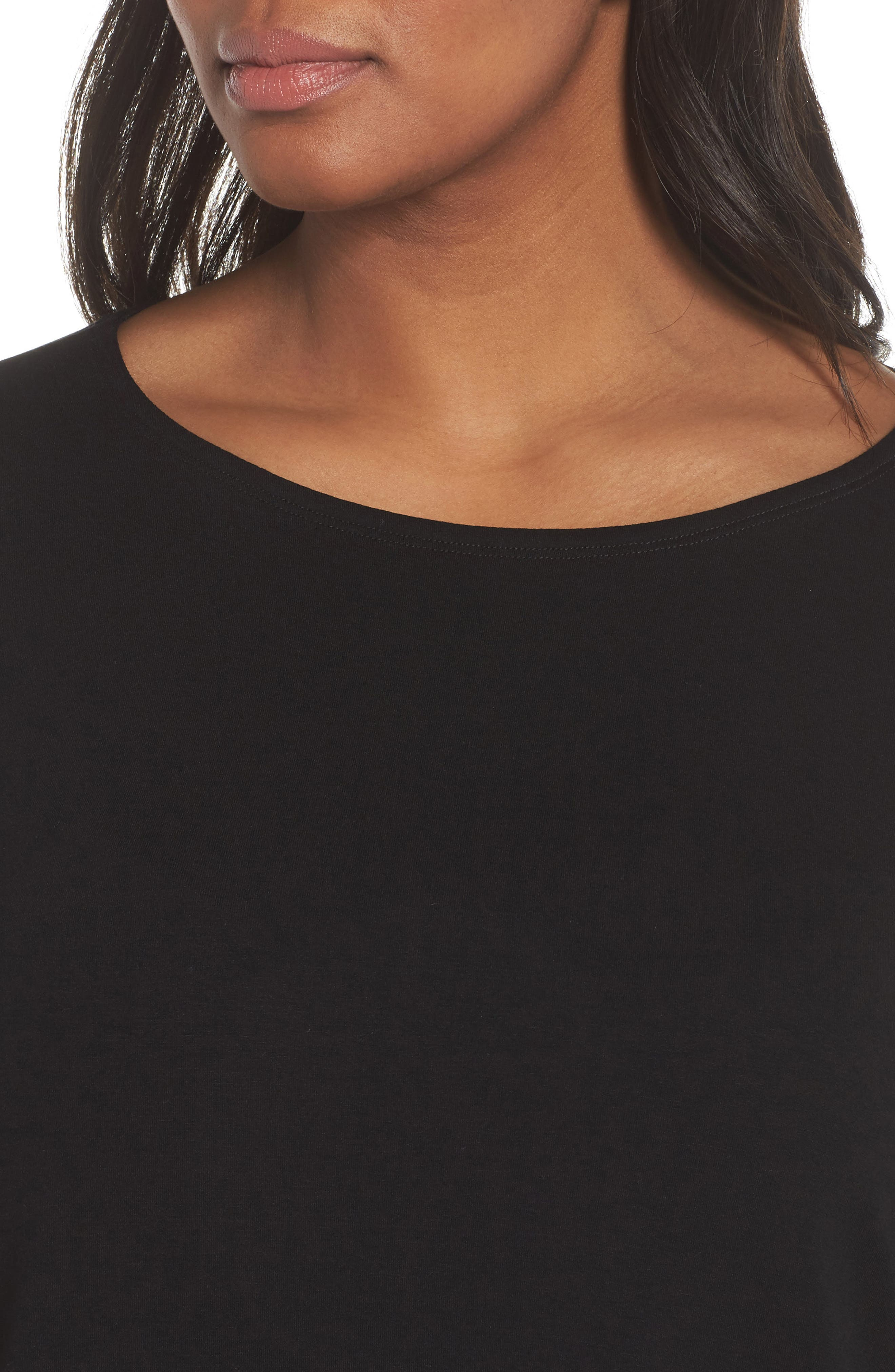 Jewel Neck Asymmetrical Top,                             Alternate thumbnail 4, color,                             001