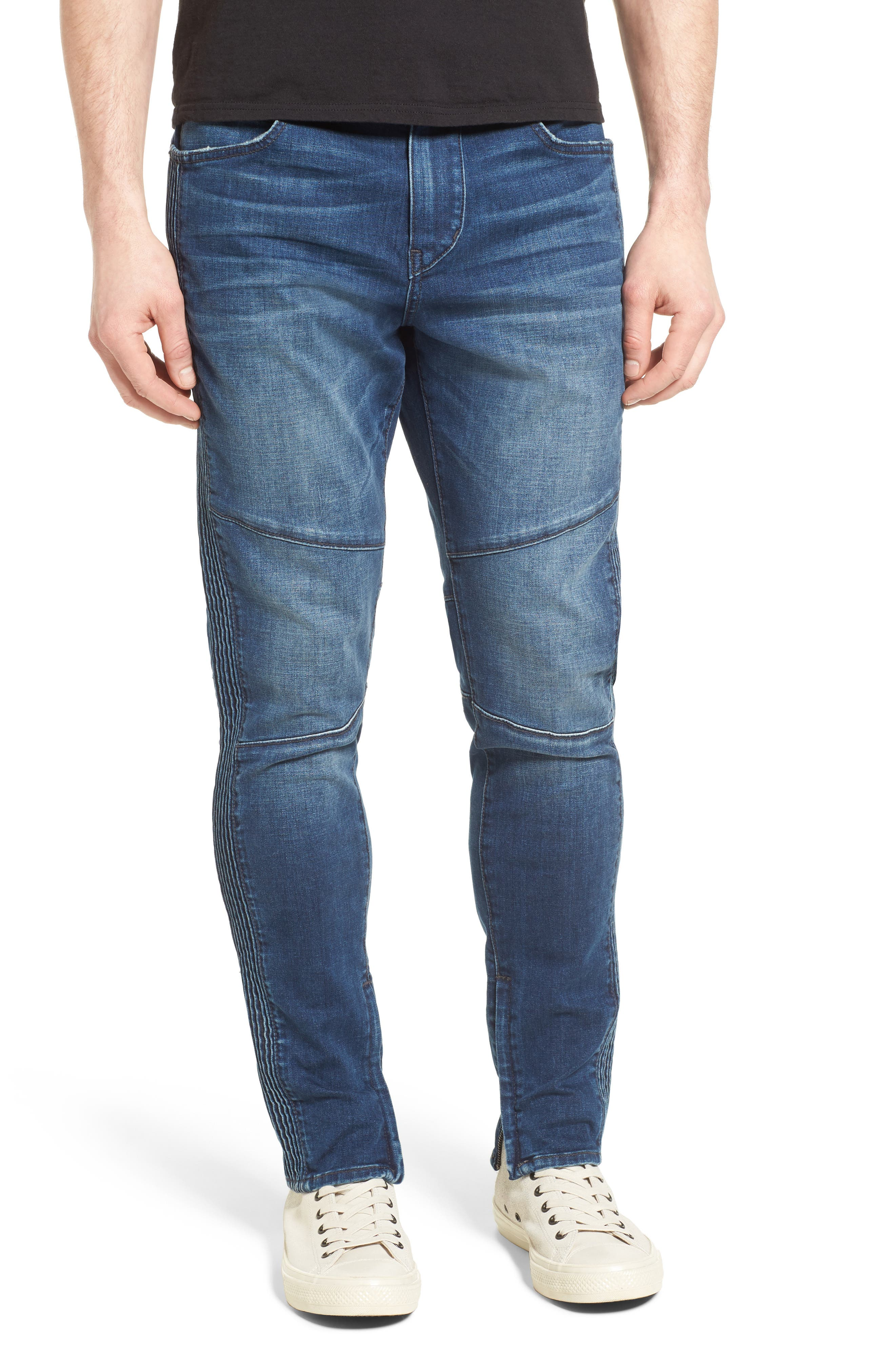 Racer Skinny Fit Jeans,                             Main thumbnail 1, color,                             WHISKEY BLUES