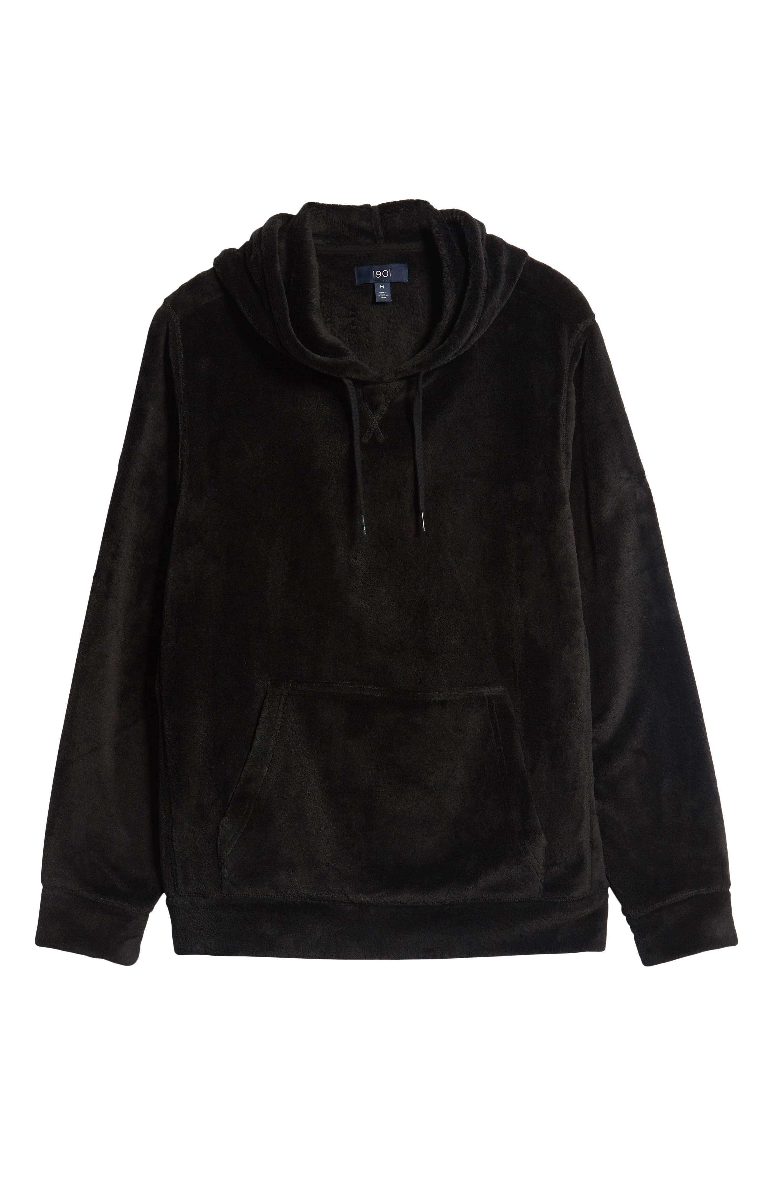 Cozy Solid Polar Fleece Hoodie,                             Alternate thumbnail 6, color,                             BLACK CAVIAR