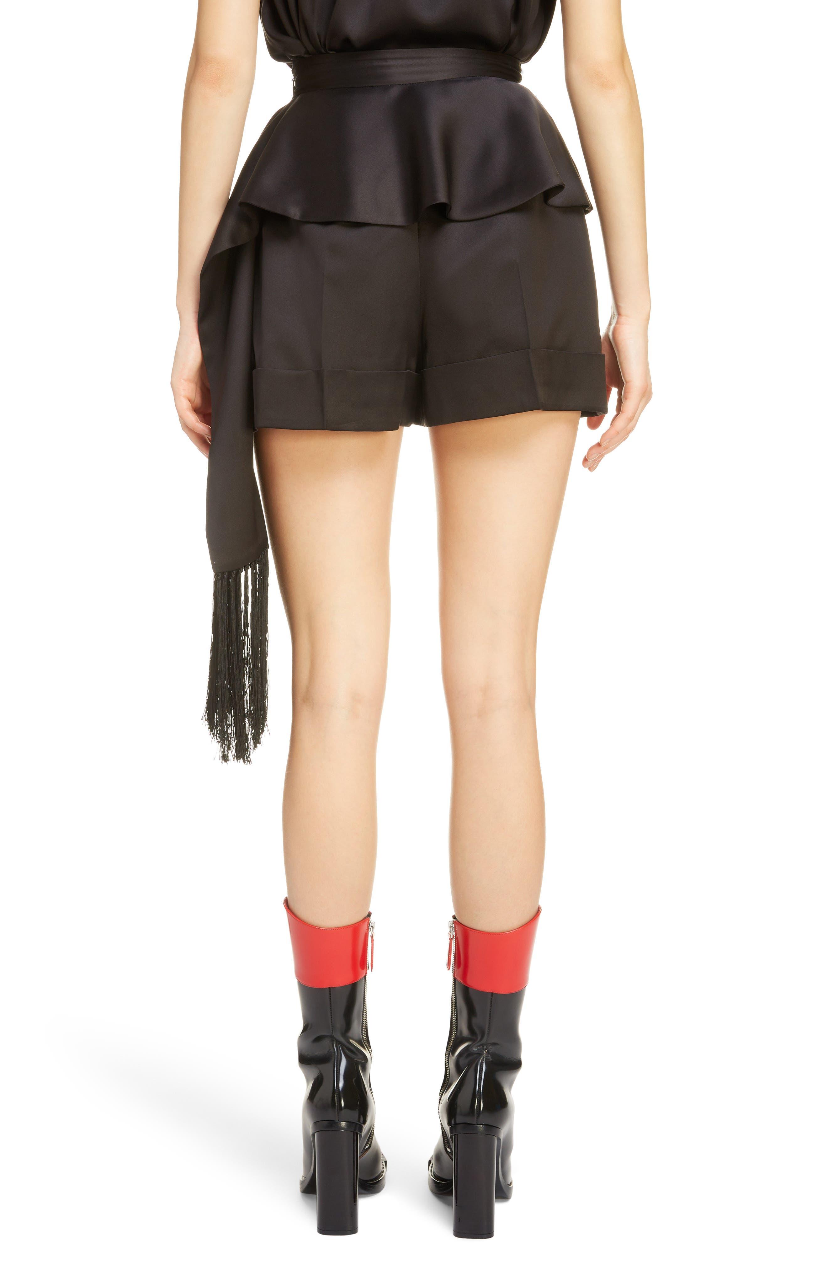 Side Scarf Peplum Satin Shorts,                             Alternate thumbnail 2, color,                             1000 - BLACK