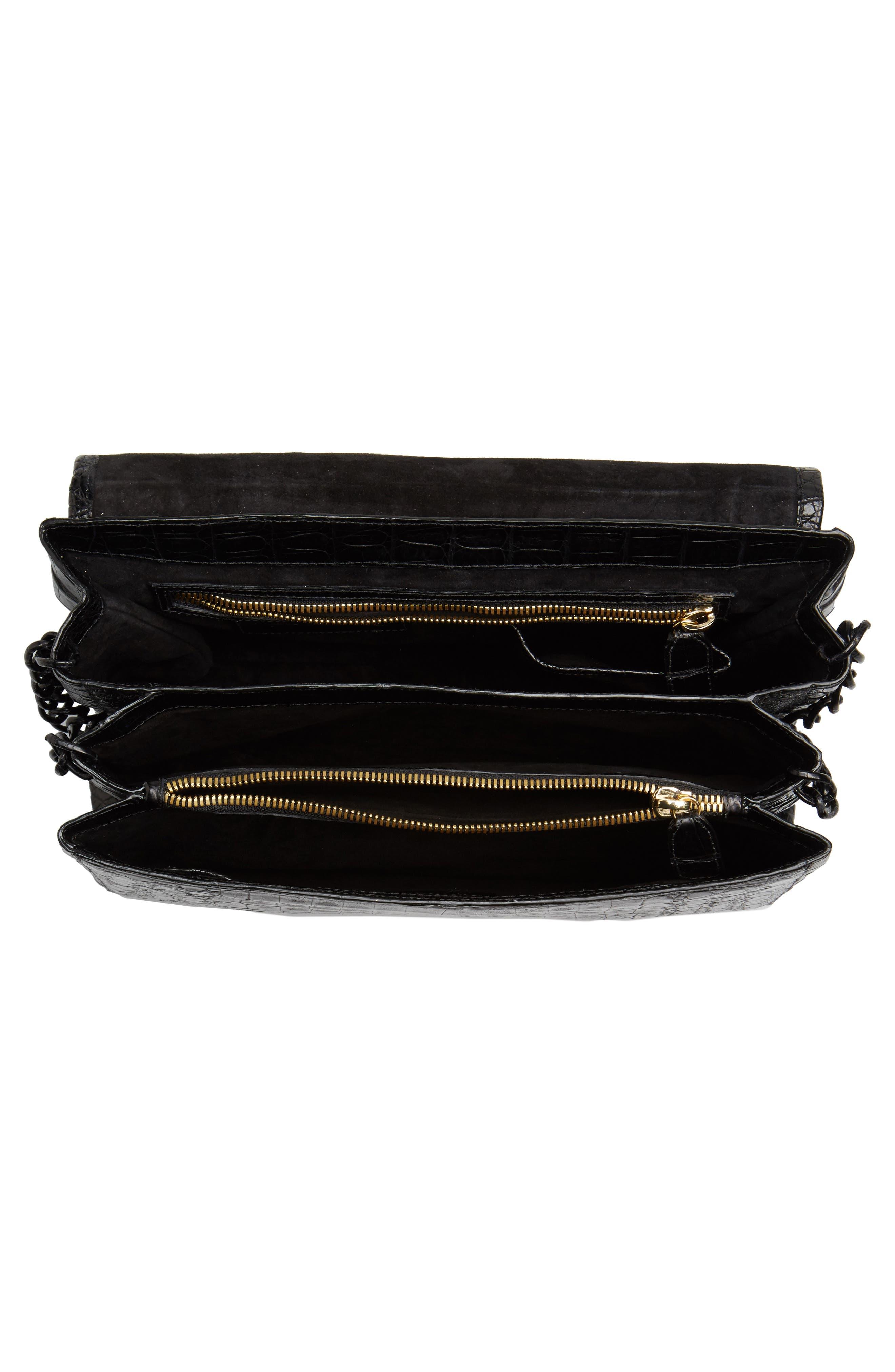 Genuine Crocodile Shoulder Bag,                             Alternate thumbnail 4, color,                             BLACK MATTE