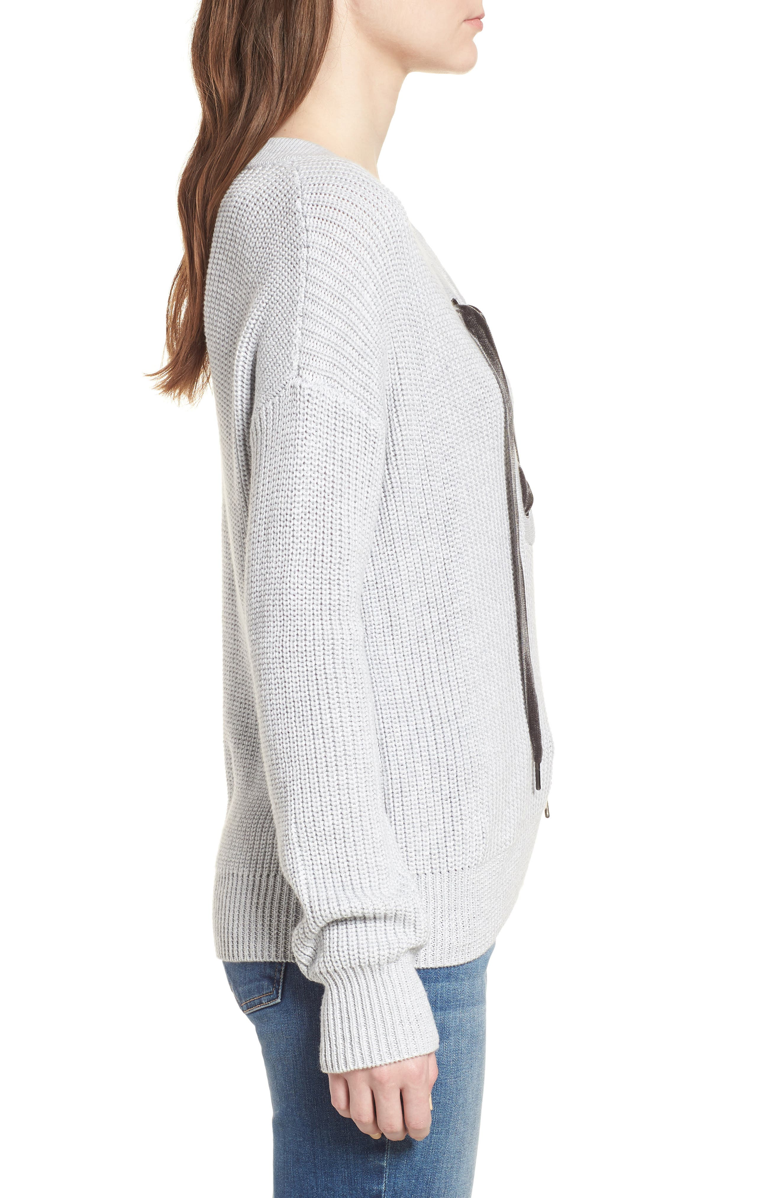 Olivia Lace-Up Sweater,                             Alternate thumbnail 3, color,                             HEATHER GREY