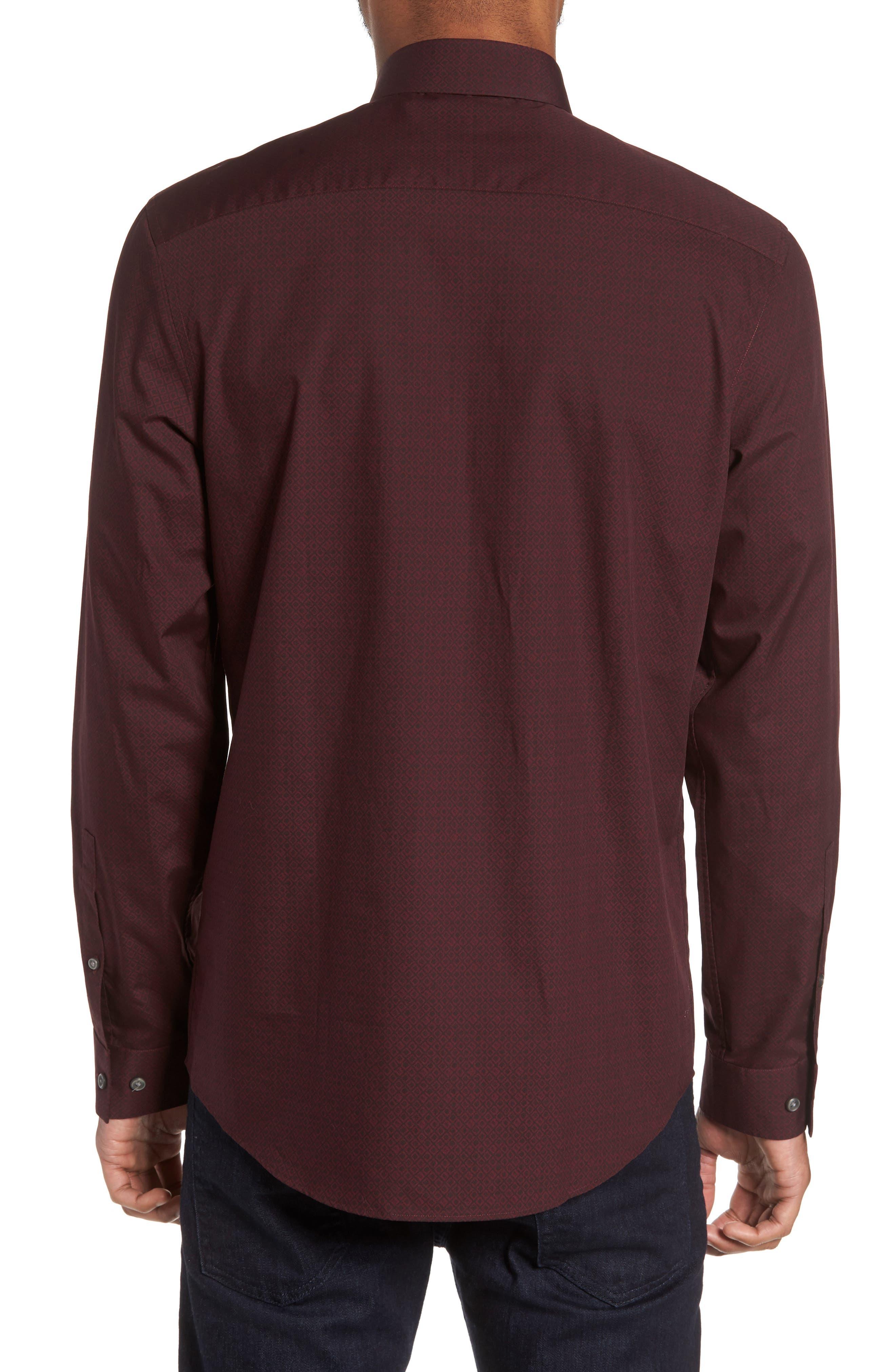 Slim Fit Non-Iron Diamond Print Sport Shirt,                             Alternate thumbnail 2, color,                             501