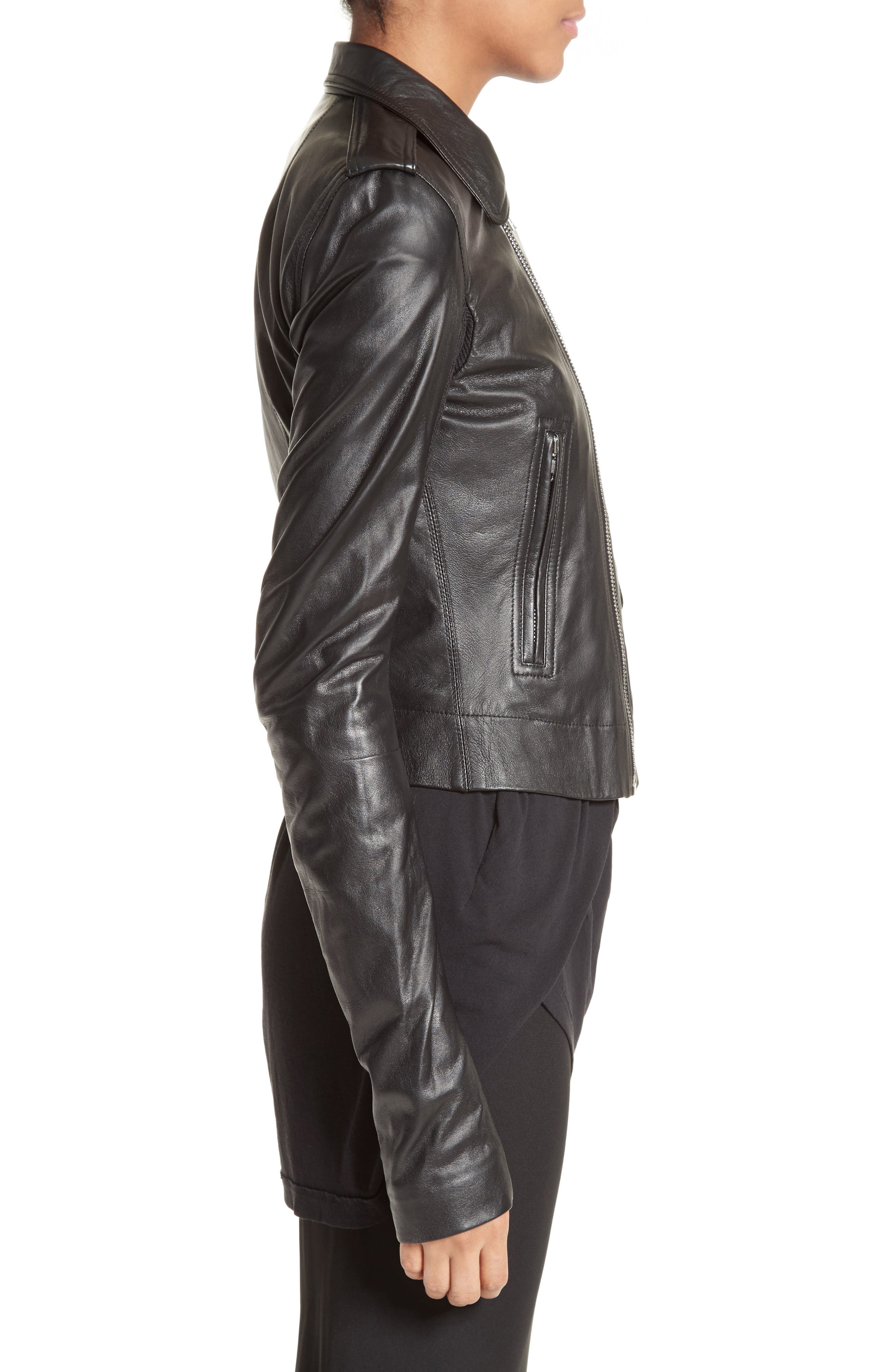 Stooges Leather Jacket,                             Alternate thumbnail 3, color,                             009