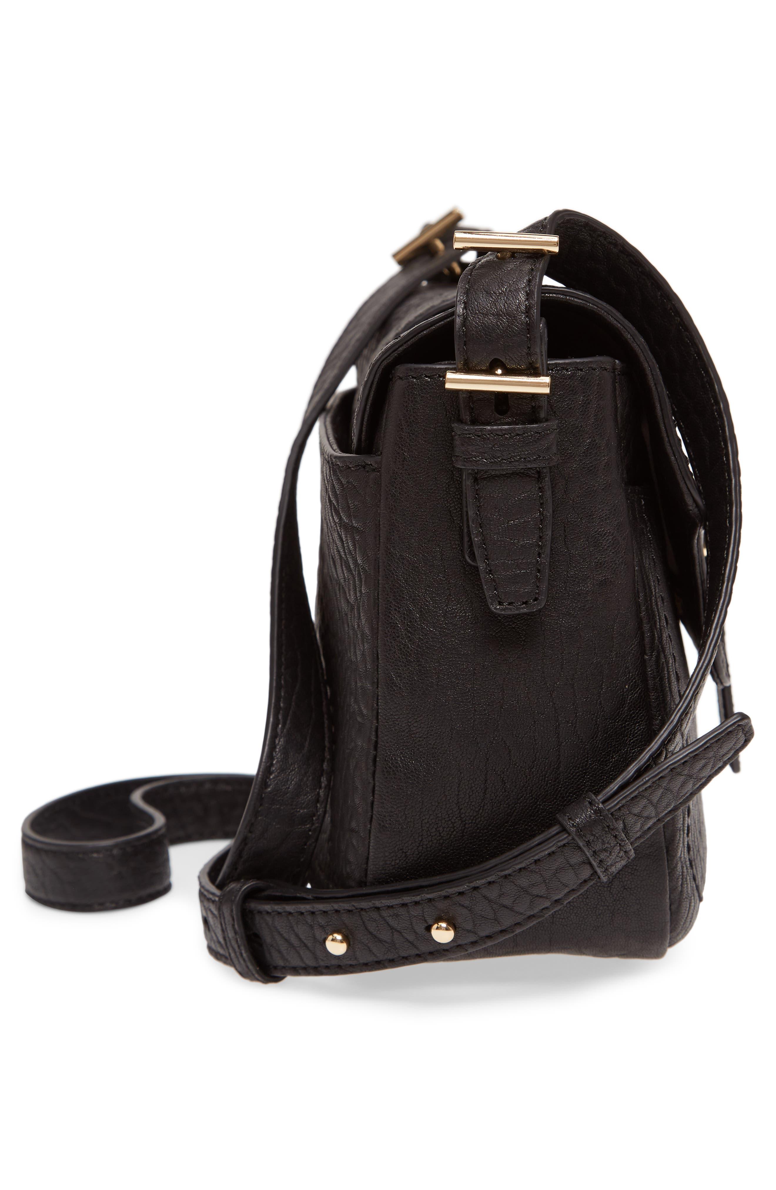 Fava Leather Crossbody Bag,                             Alternate thumbnail 5, color,                             001