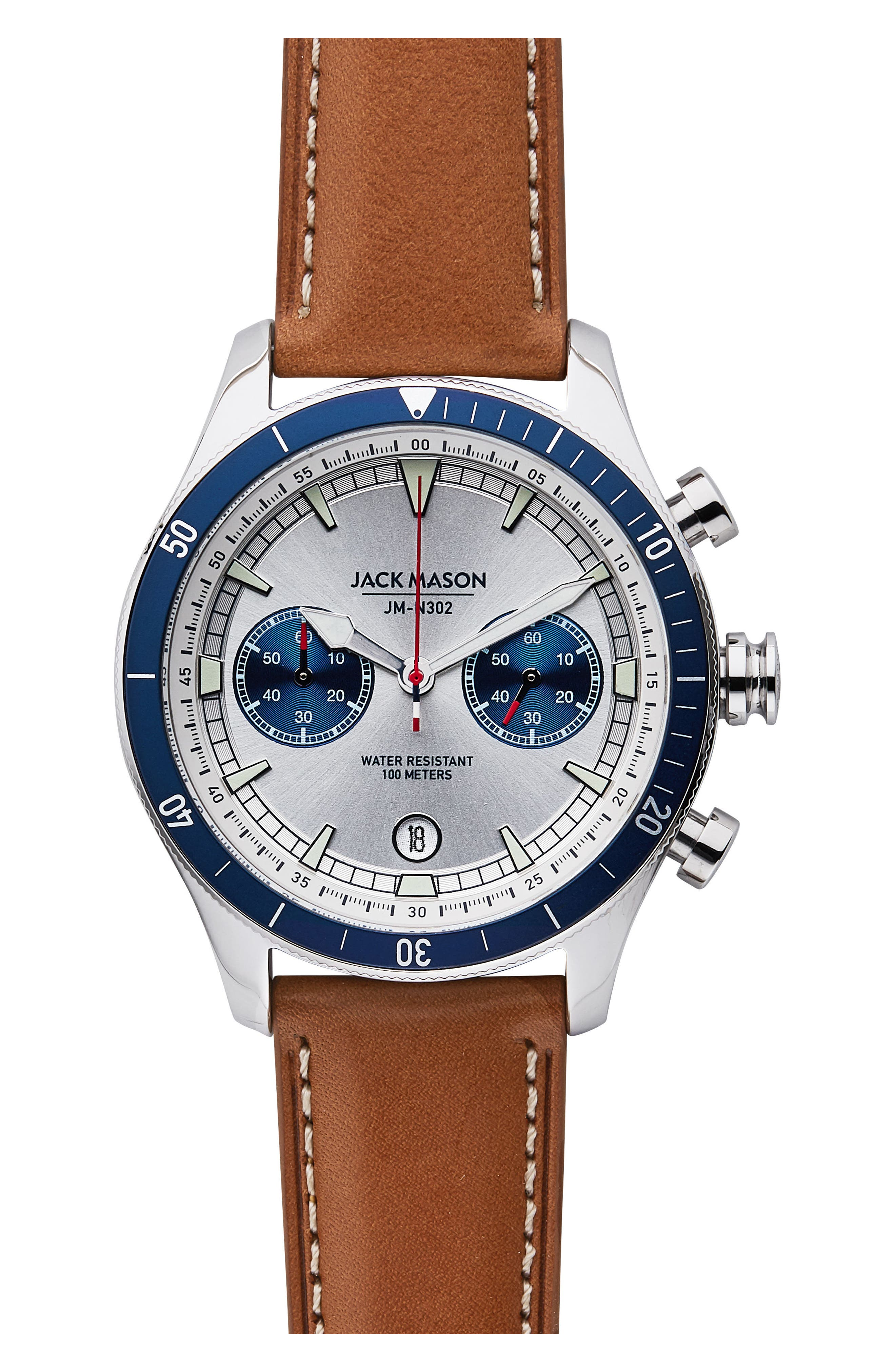 Nautical Chronograph Leather Strap Watch, 45mm,                         Main,                         color,