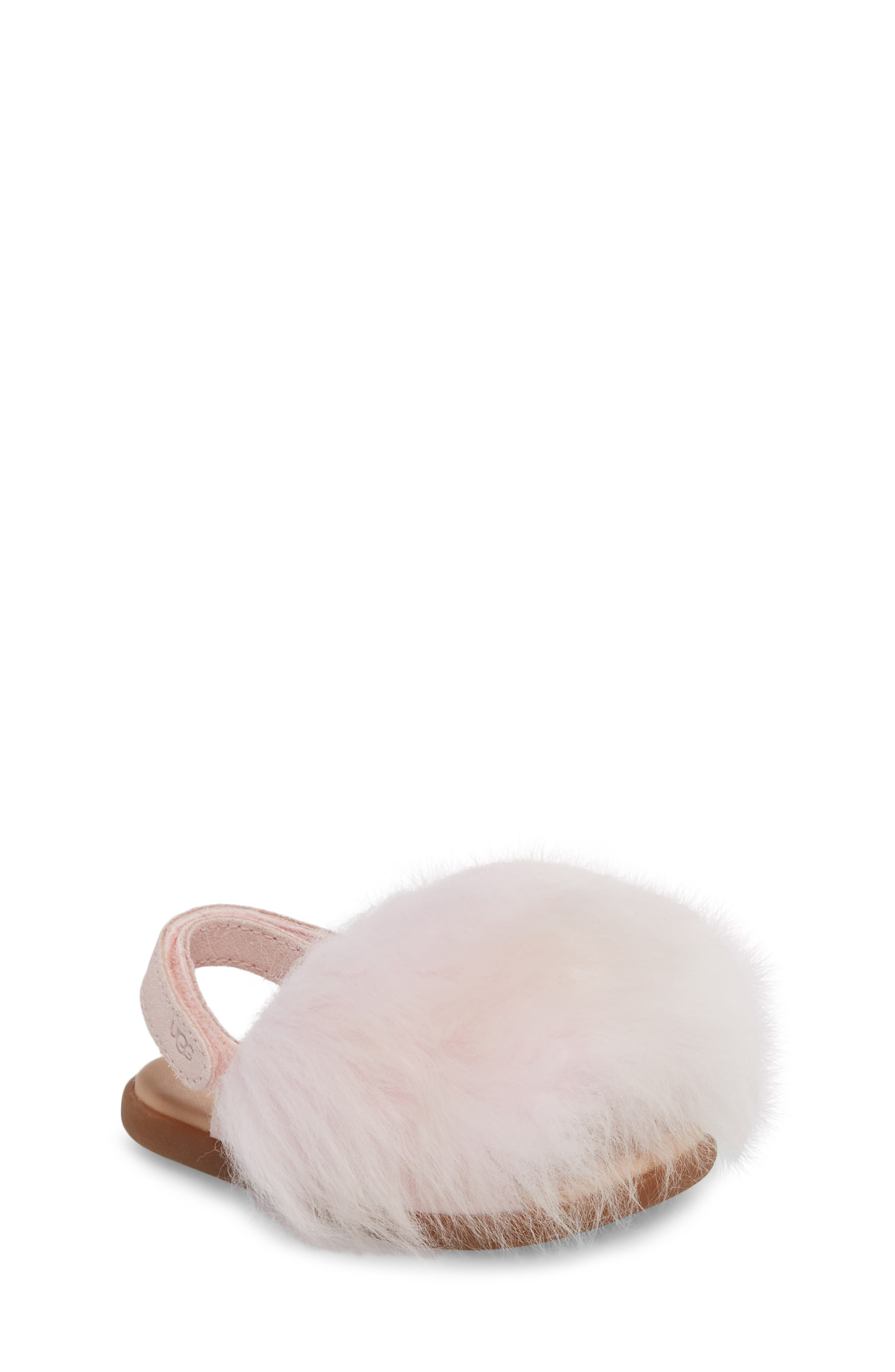 Holly Genuine Shearling Sandal,                             Main thumbnail 1, color,                             SEASHELL PINK