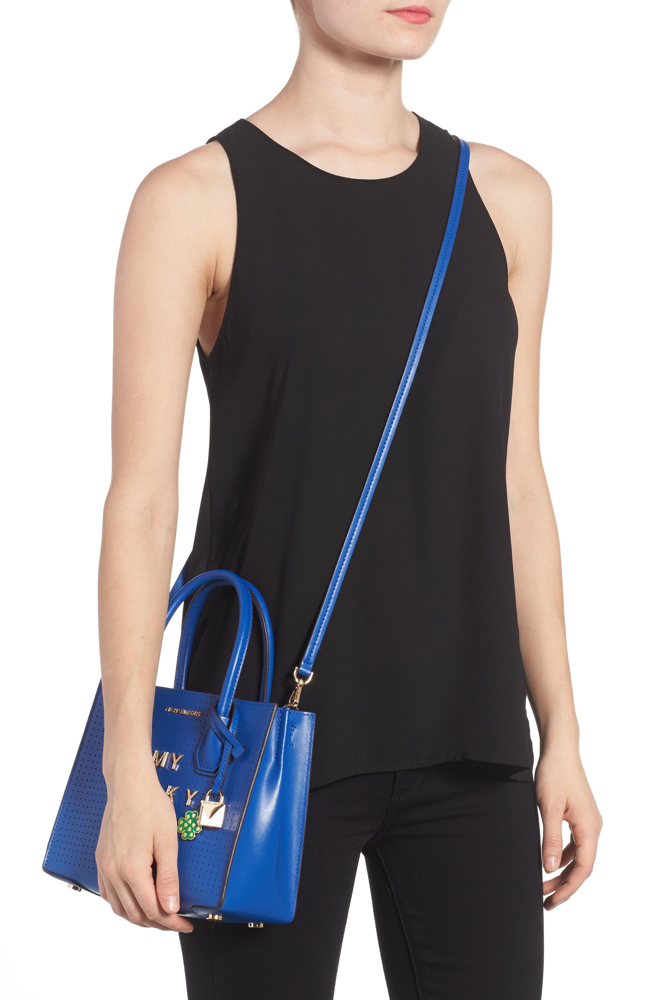 MICHAEL Michael Kors Medium Mercer Leather Crossbody Bag,                             Alternate thumbnail 2, color,