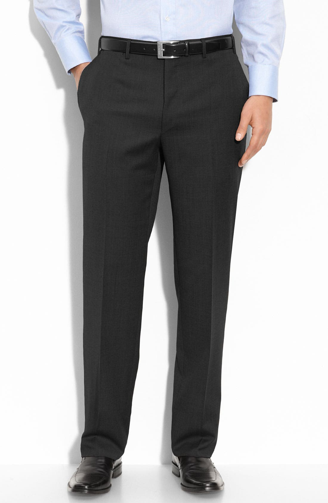 Flat Front Wool Trousers,                         Main,                         color, BLACK