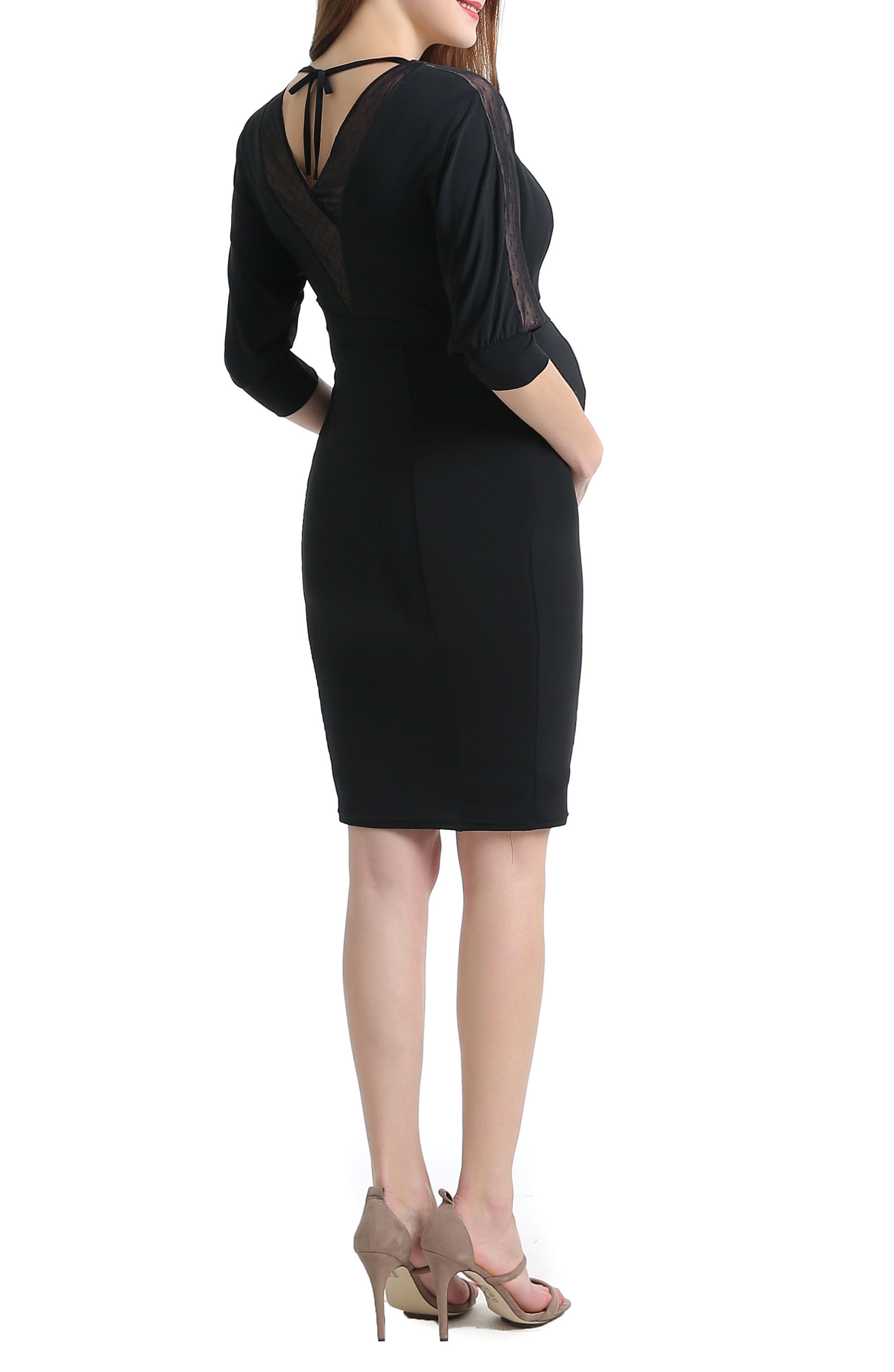Kelly Mesh Trim Maternity/Nursing Dress,                             Alternate thumbnail 2, color,                             001