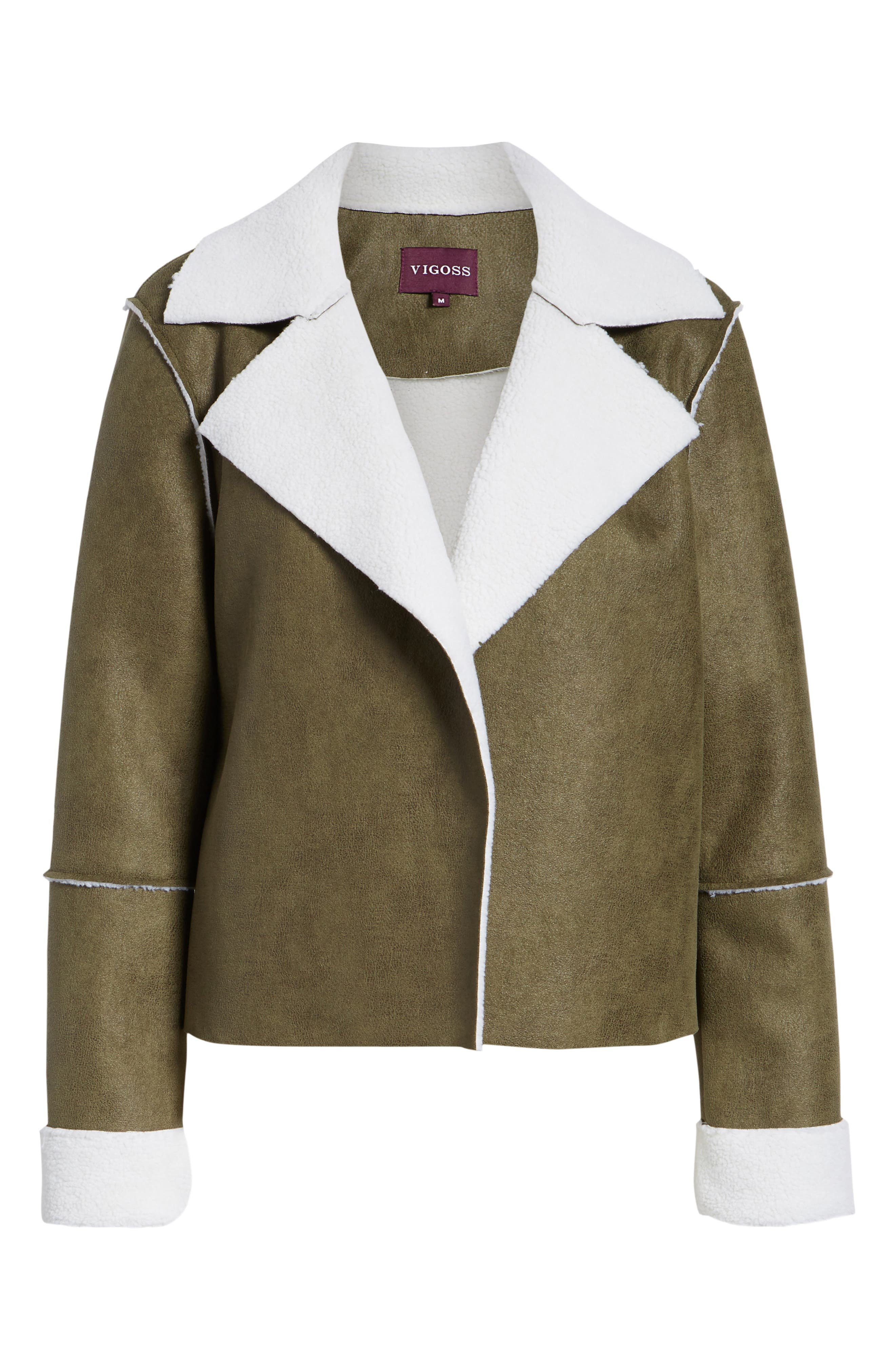 Faux Shearling Moto Jacket,                             Alternate thumbnail 6, color,                             300