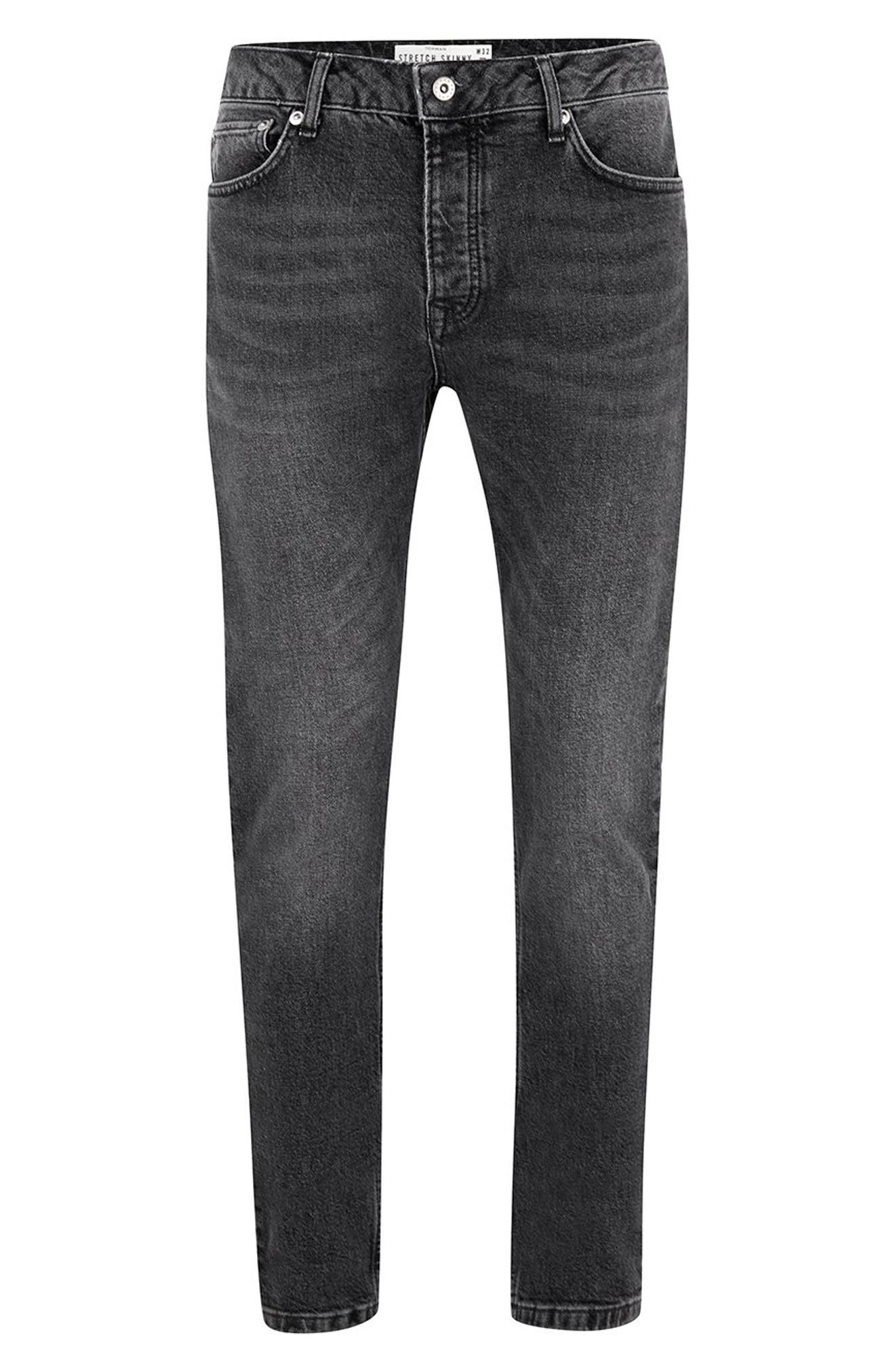 TOPMAN,                             Washed Skinny Fit Jeans,                             Alternate thumbnail 4, color,                             BLACK