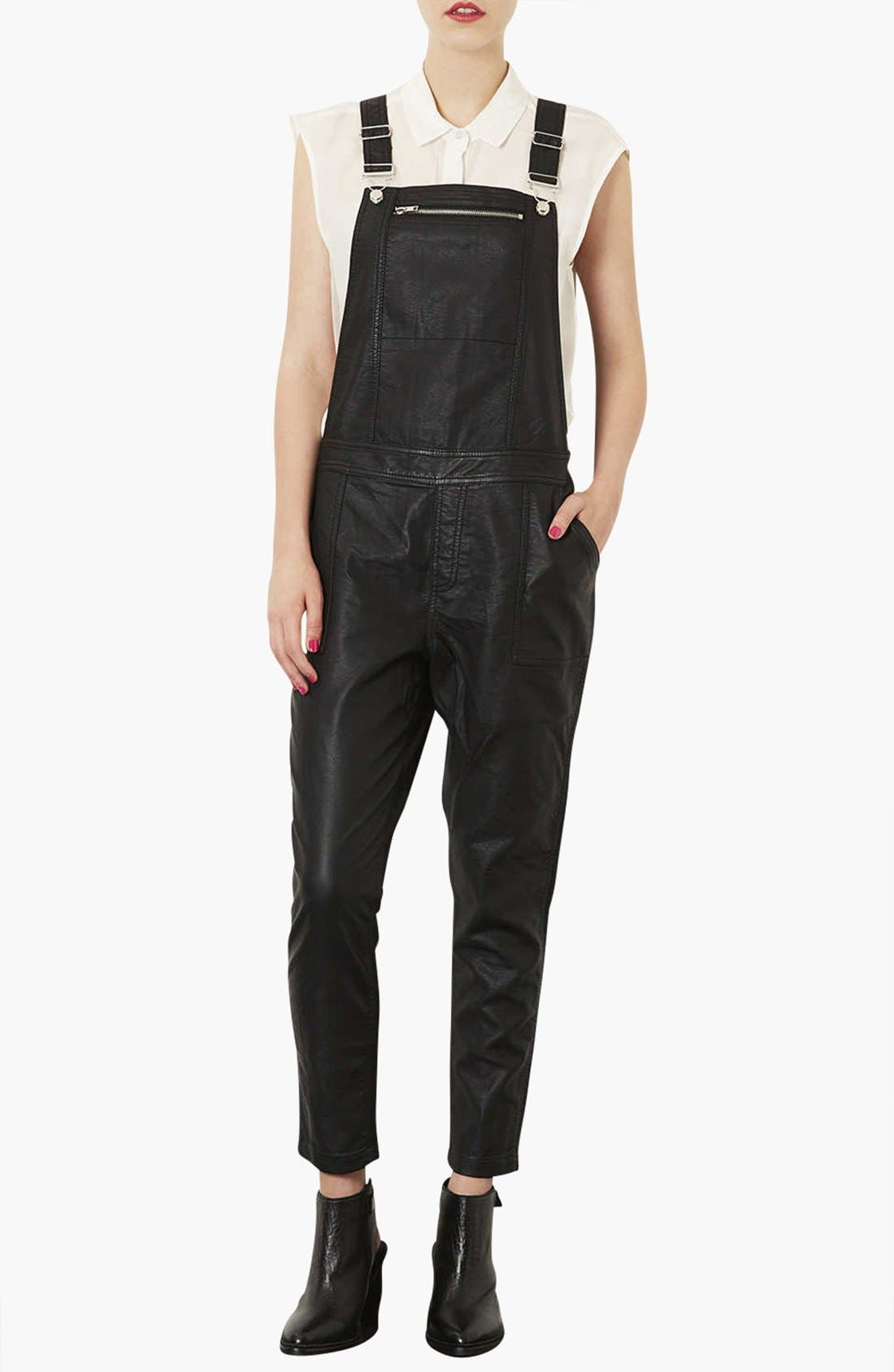 Faux Leather Overalls,                             Main thumbnail 1, color,                             001
