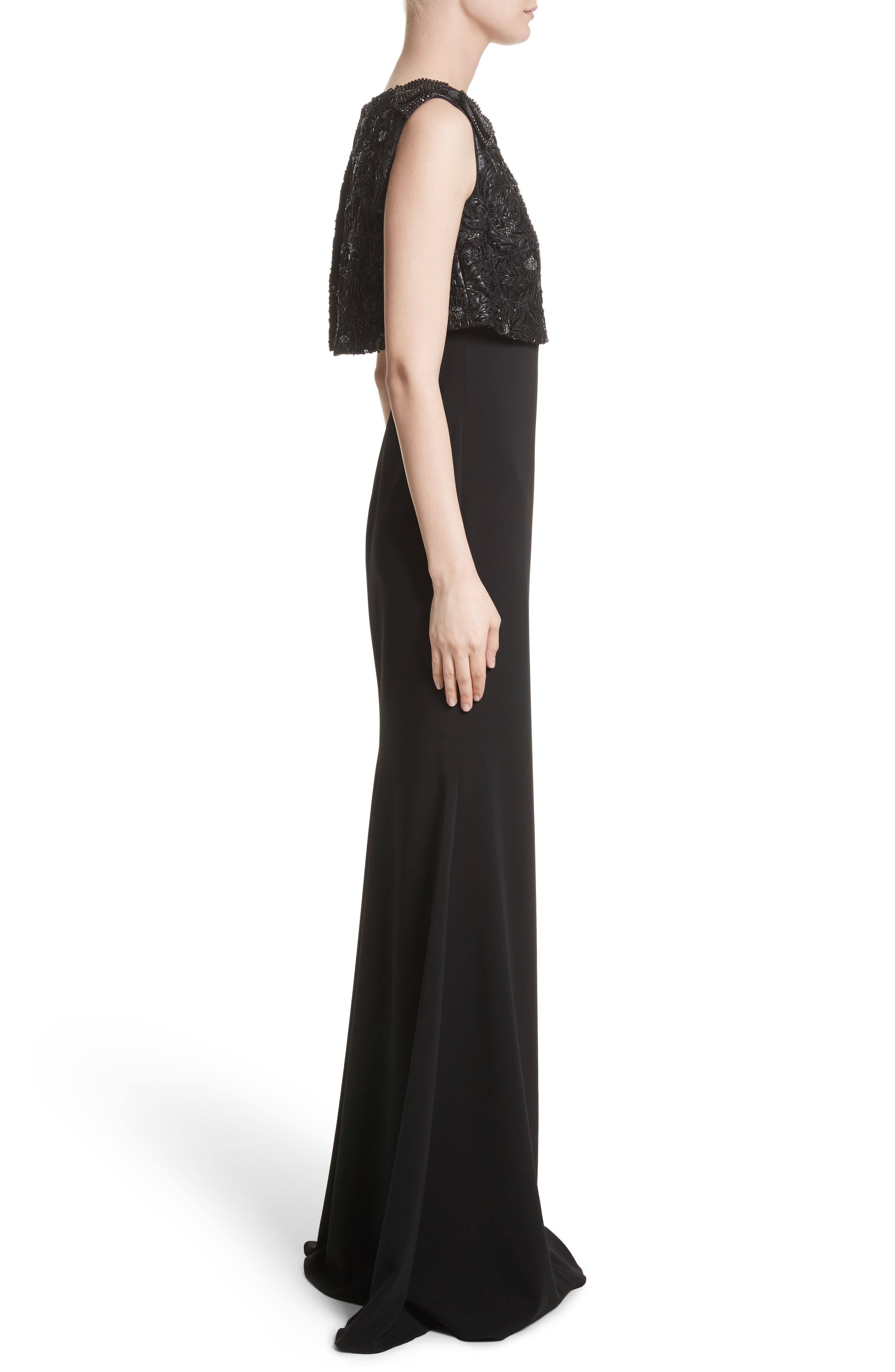 Badgley Mischka Couture Embellished Popover Gown,                             Alternate thumbnail 3, color,                             001