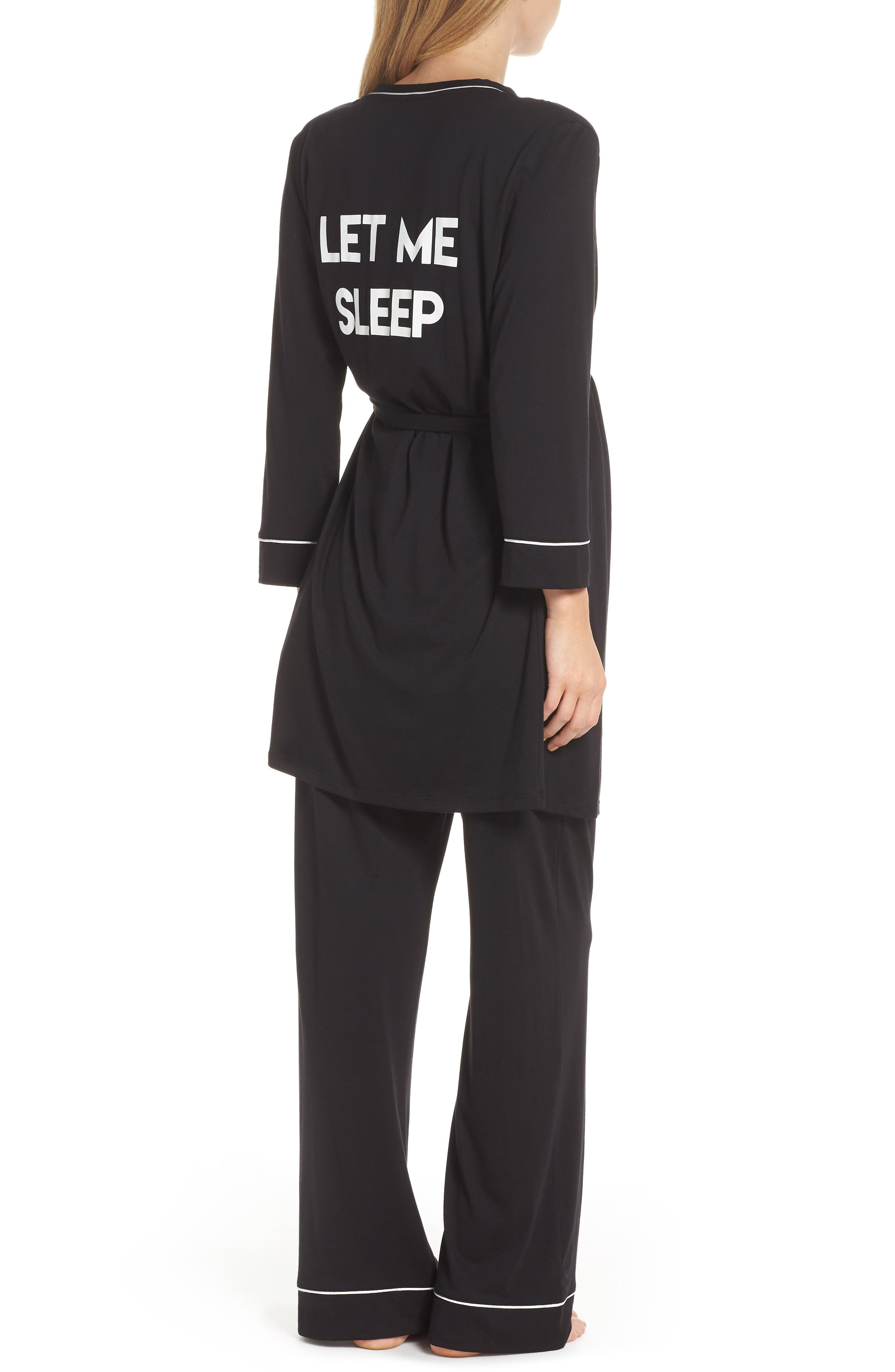 Let Me Sleep Maternity/Nursing Pajamas & Robe Set,                             Alternate thumbnail 2, color,                             BLACK/ IVORY