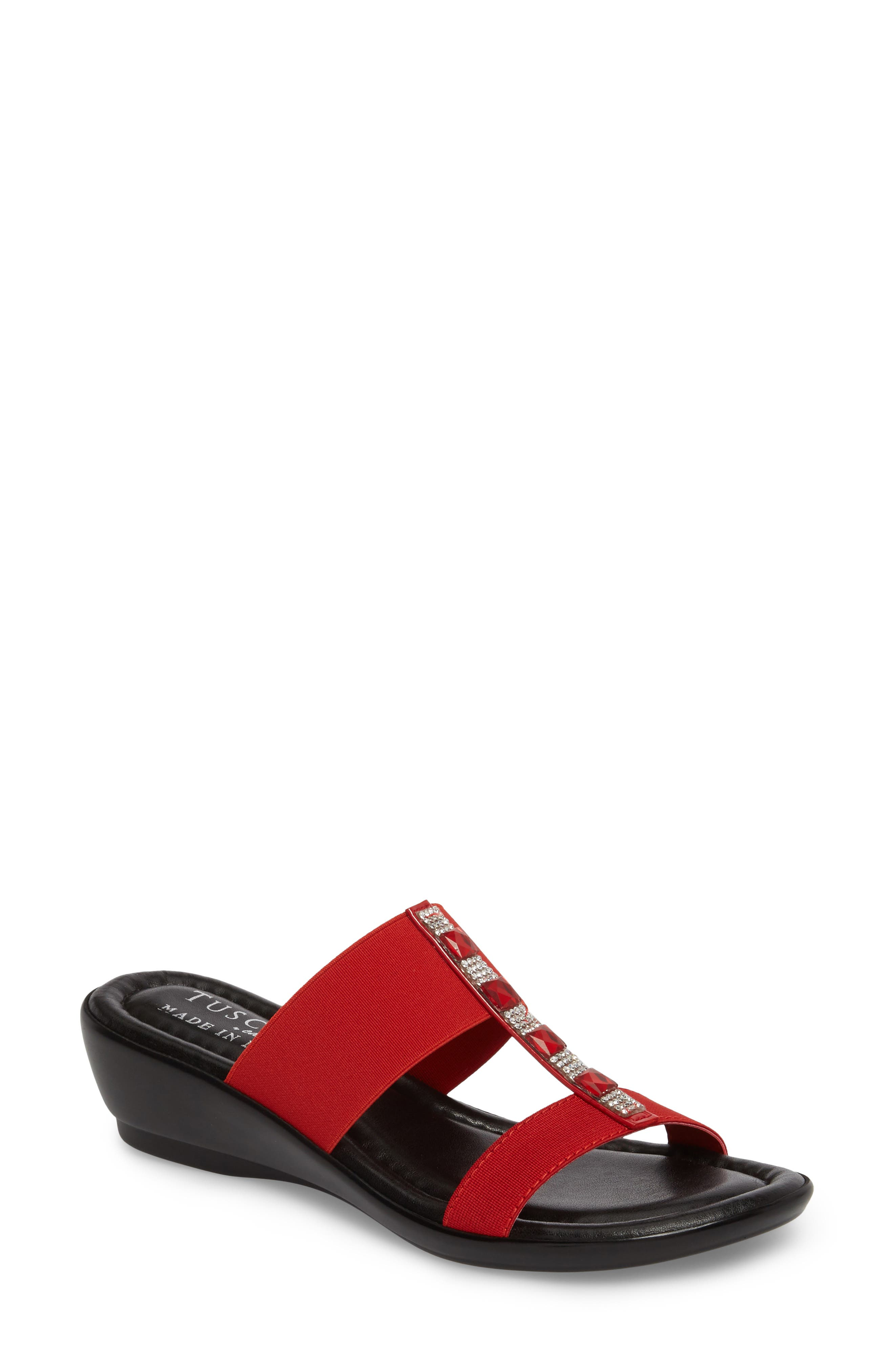 by Easy Street<sup>®</sup> Elba Embellished Slide Sandal,                             Main thumbnail 1, color,                             RED STRETCH FAUX LEATHER