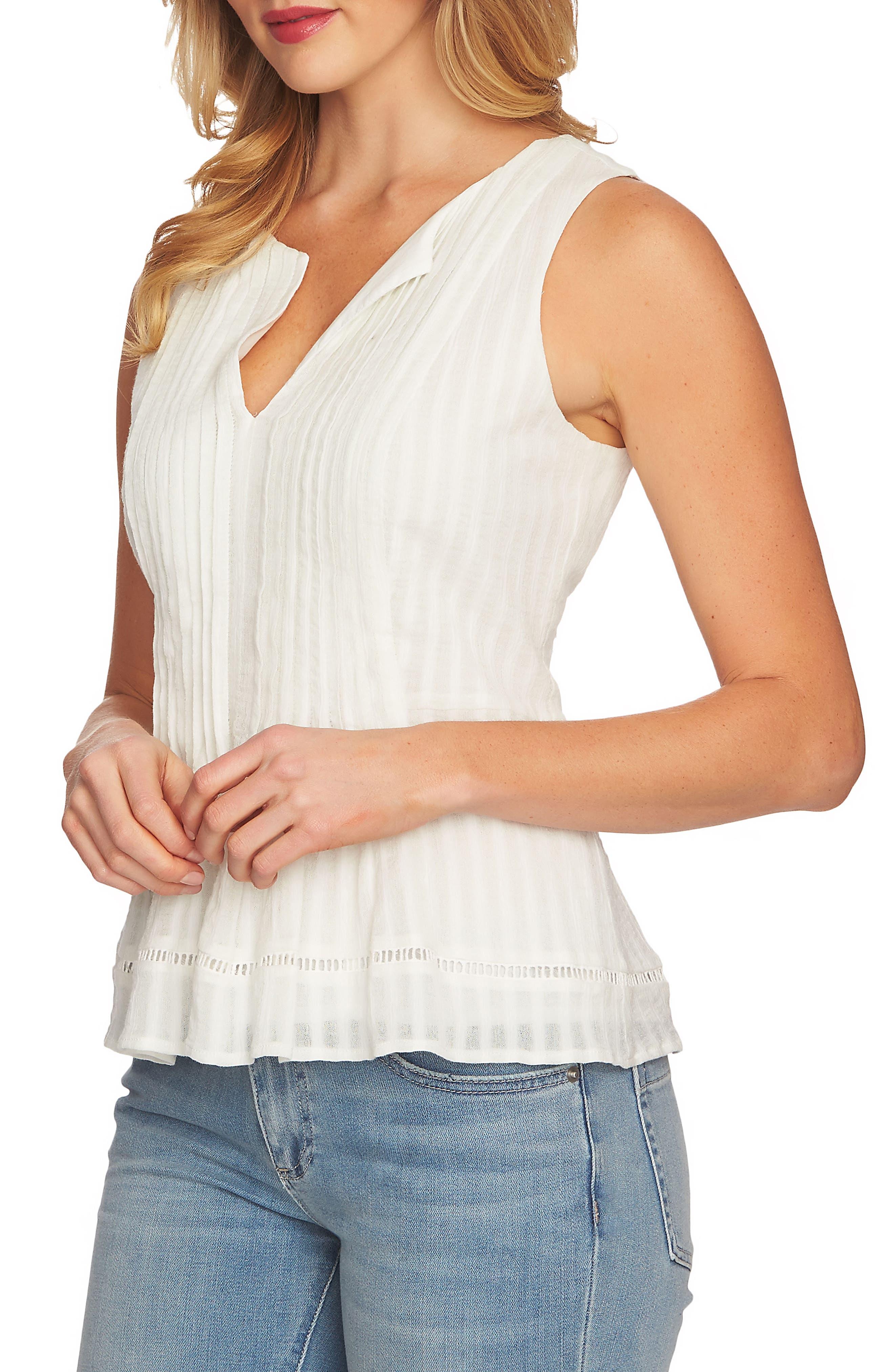 Striped Pintuck Cotton Blouse,                         Main,                         color, 311