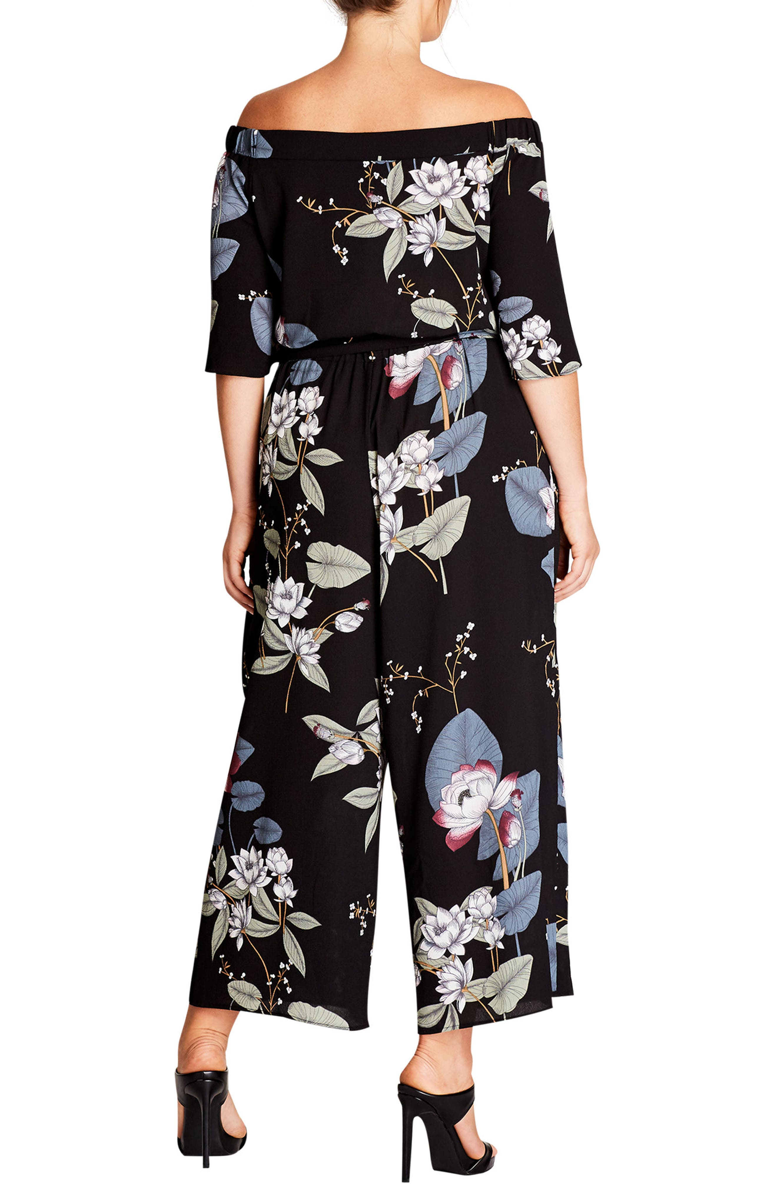 Blossom Off the Shoulder Jumpsuit,                             Alternate thumbnail 2, color,                             001