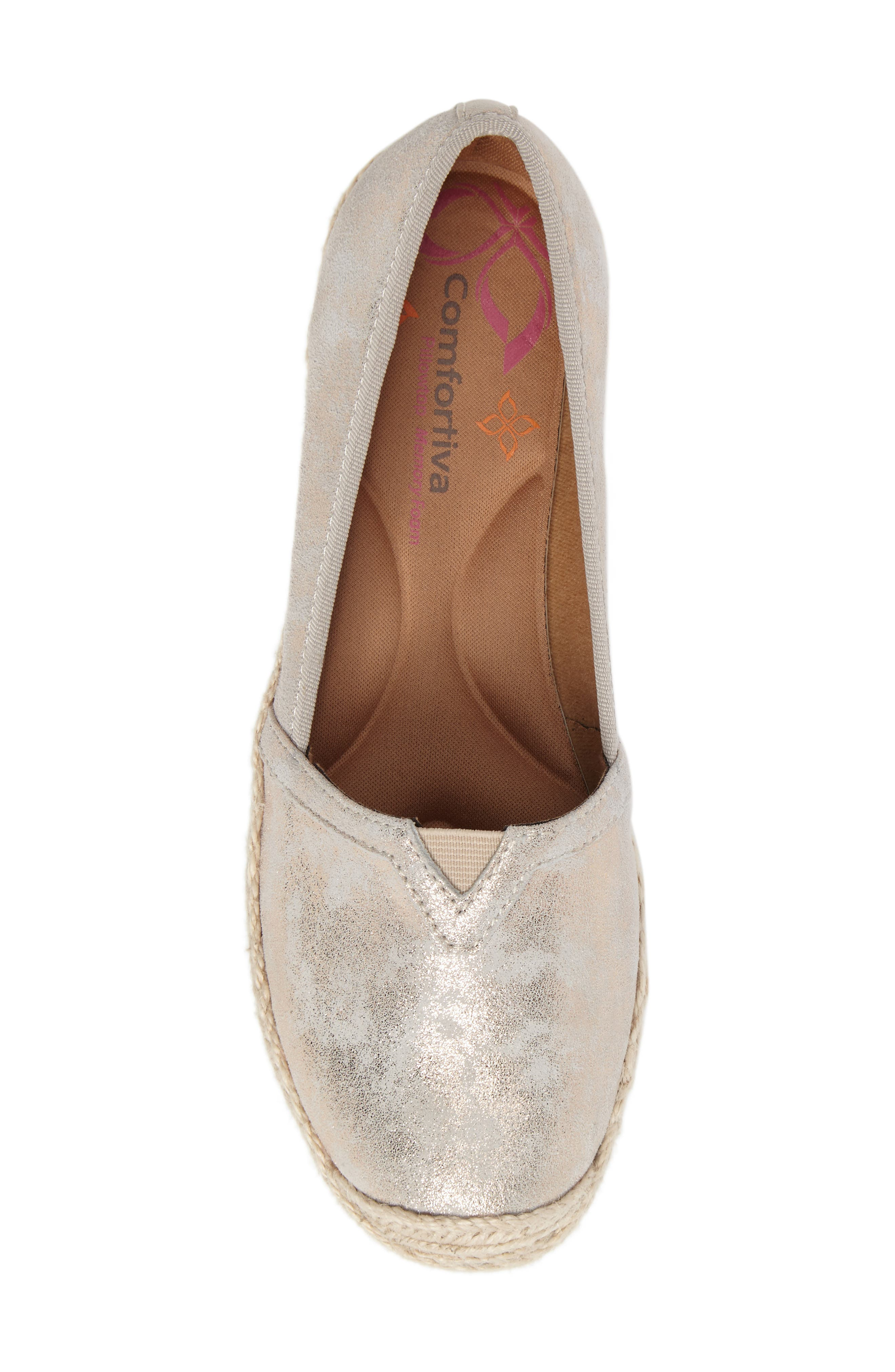 Sheridan Espadrille Flat,                             Alternate thumbnail 5, color,                             IVORY SUEDE